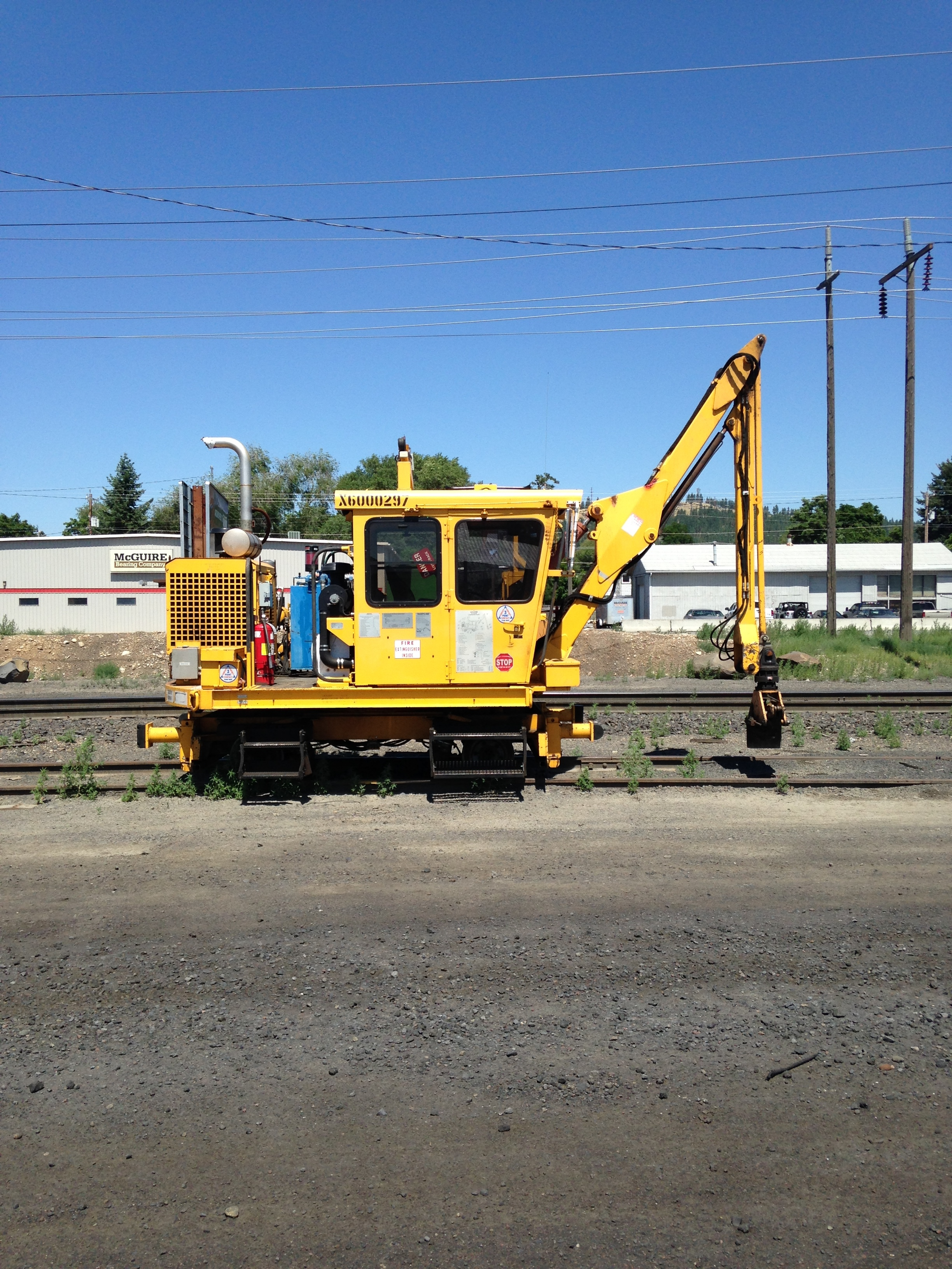 A road grader? Clearly it doesn't move around a lot, but I love the cheery primary colors.