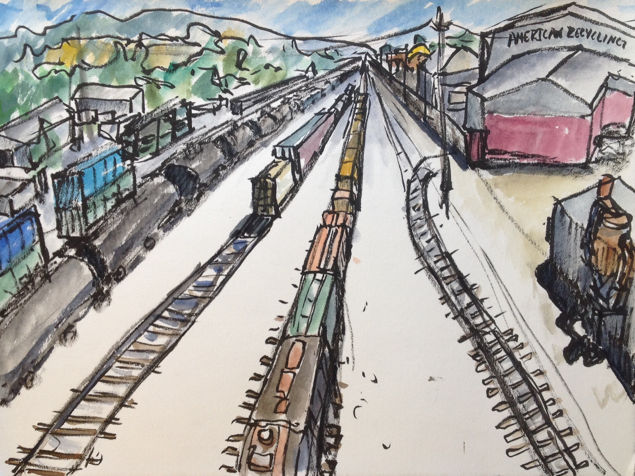 As I sketched this from my position on the Fancher bridge I enjoyed watching the trains come and go. Sketching while surrounded by activity and change is part of my favorite things about sketching on location. When I packed up my kit, the scene looked quite different than when I'd started thanks to trains leaving and new trains arriving.