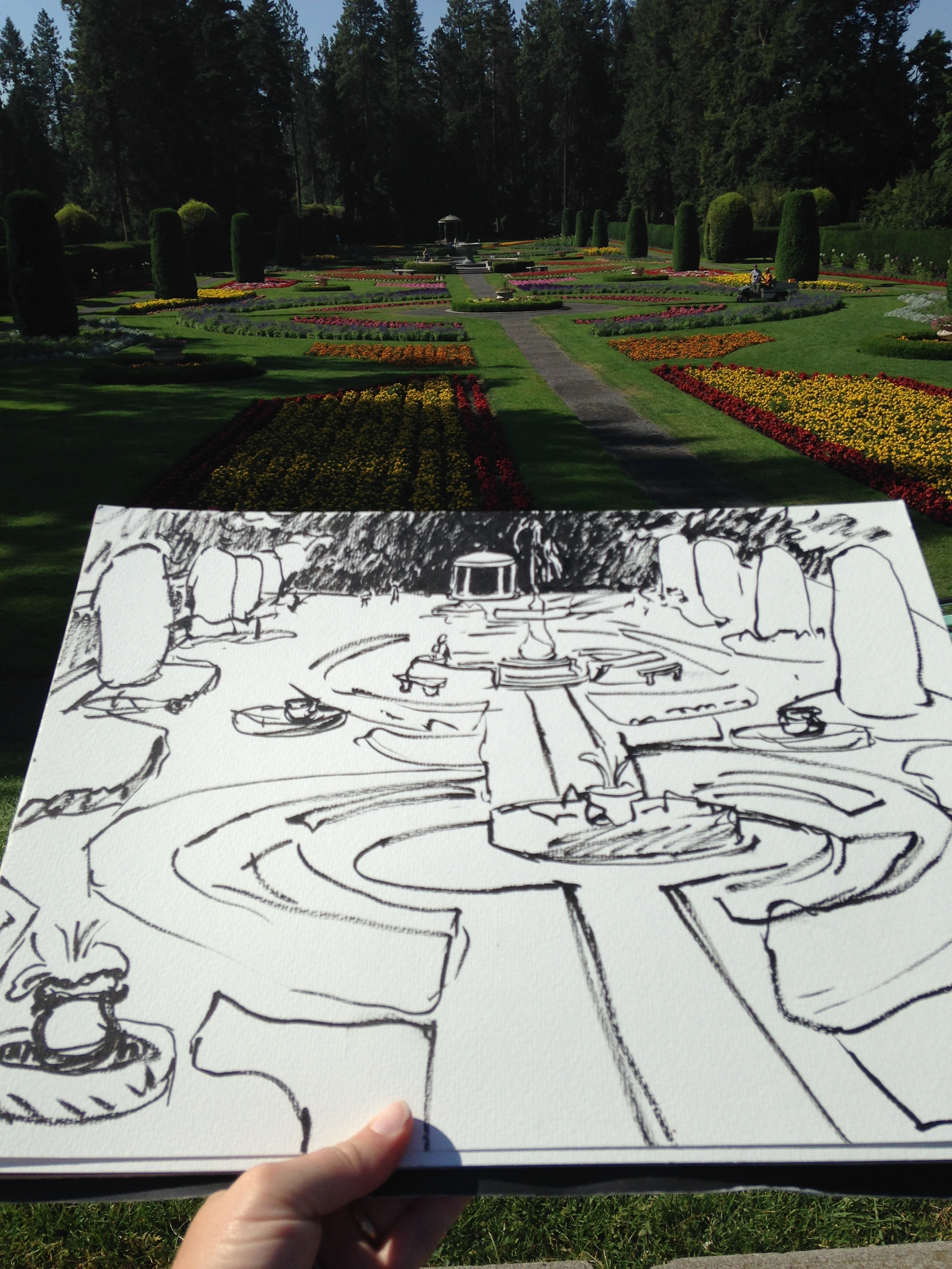 My pen sketch of the garden before adding paint. I used a Pentel Pocket brush pen, which I am madly involved with.