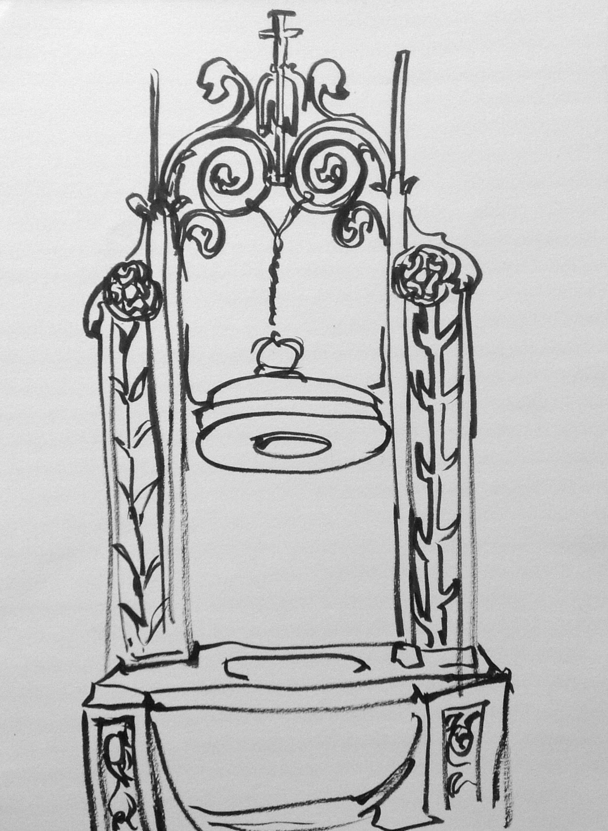 The baptismal font is made of Tennessee and Italian marble and weighs 2,600 pounds!
