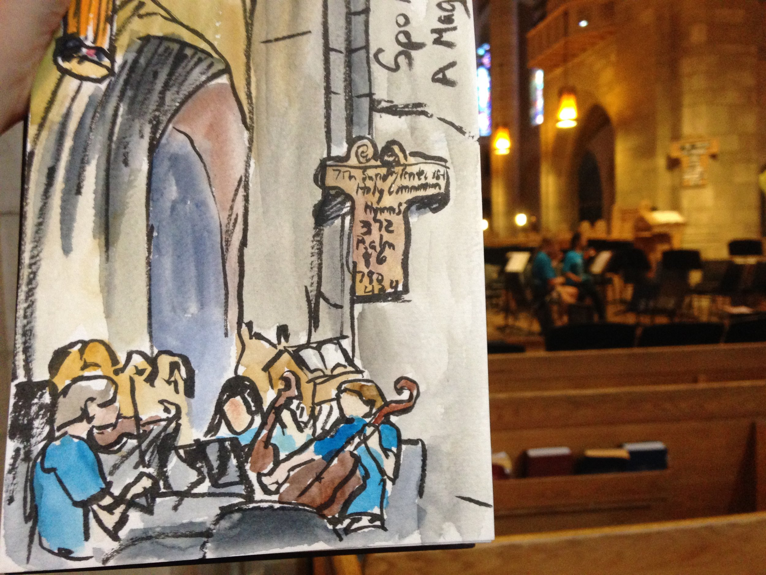Spokane Youth Symphony practicing in the nave of the Cathedral. I stumbled upon this by accident and it was fabulous to paint with live music accompaniment!