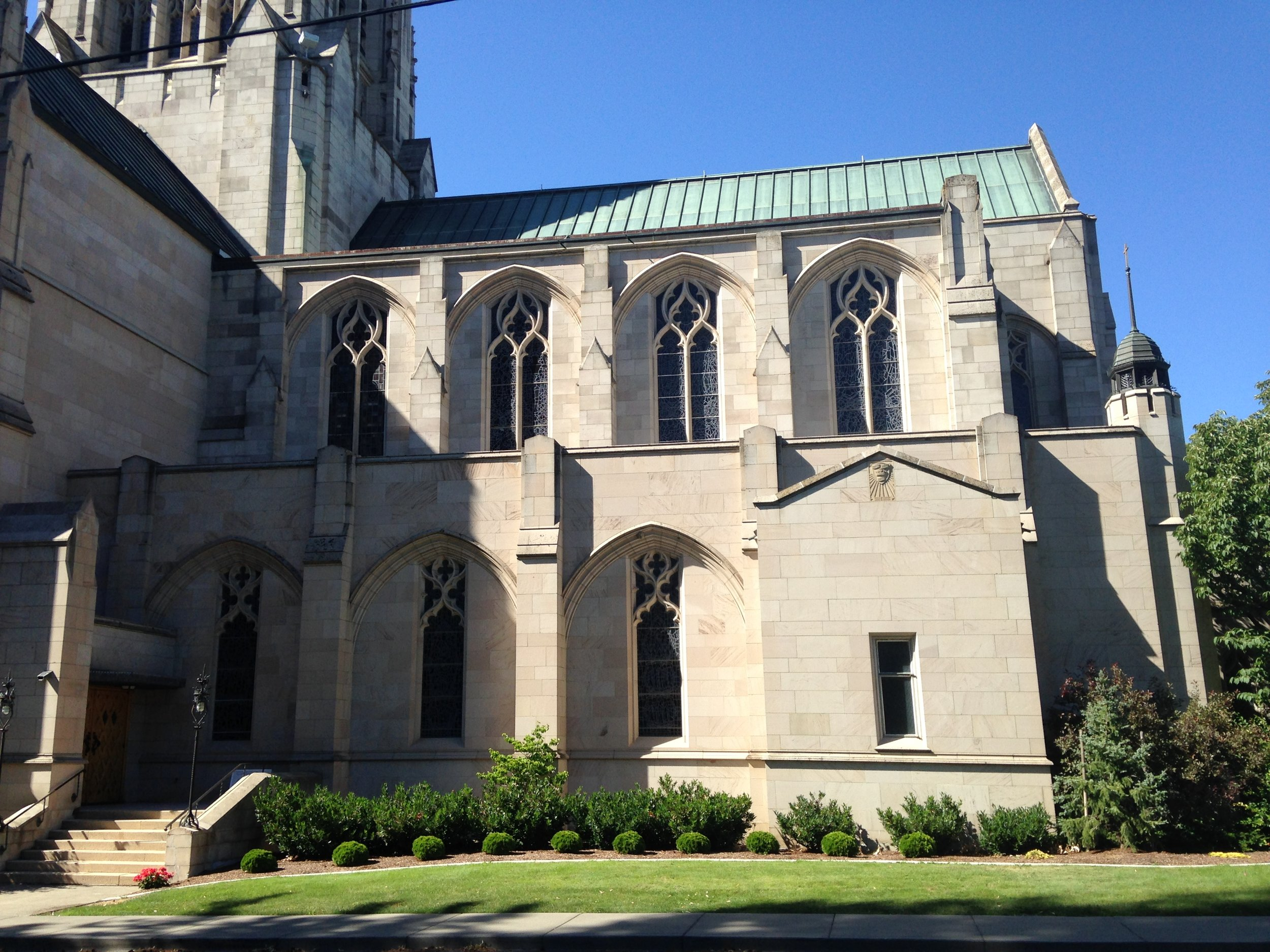 The outside of the cathedral is made from stone quarried in Tacoma. The interior of the nave is sandstone from Idaho and the rest is Indiana limestone.