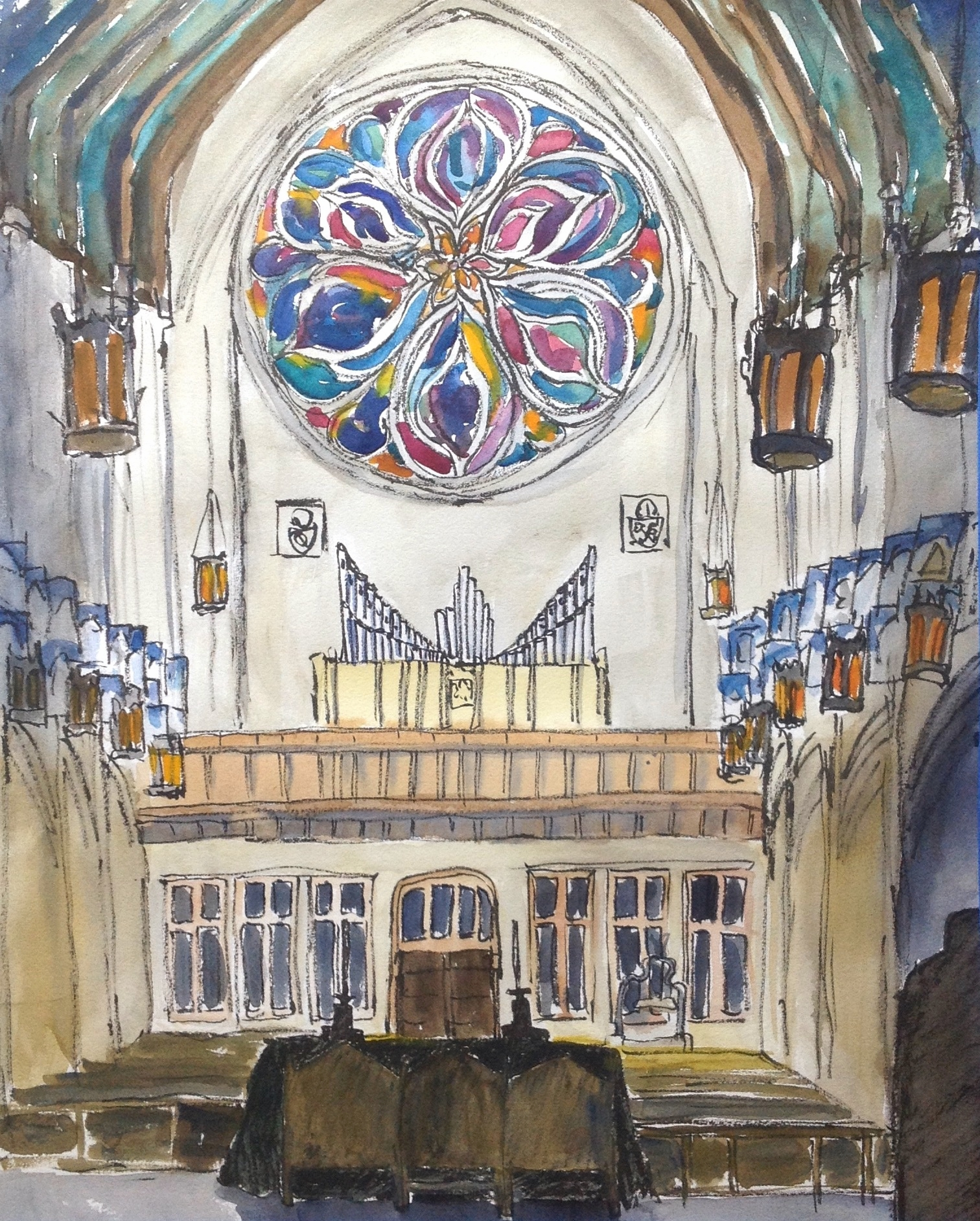 """I was walking around exploring the darkened corners of the cathedral and then I turned around and saw this view. Absolutely stunning! This is the biggest painting I've ever done on location 16"""" x 20"""" !"""