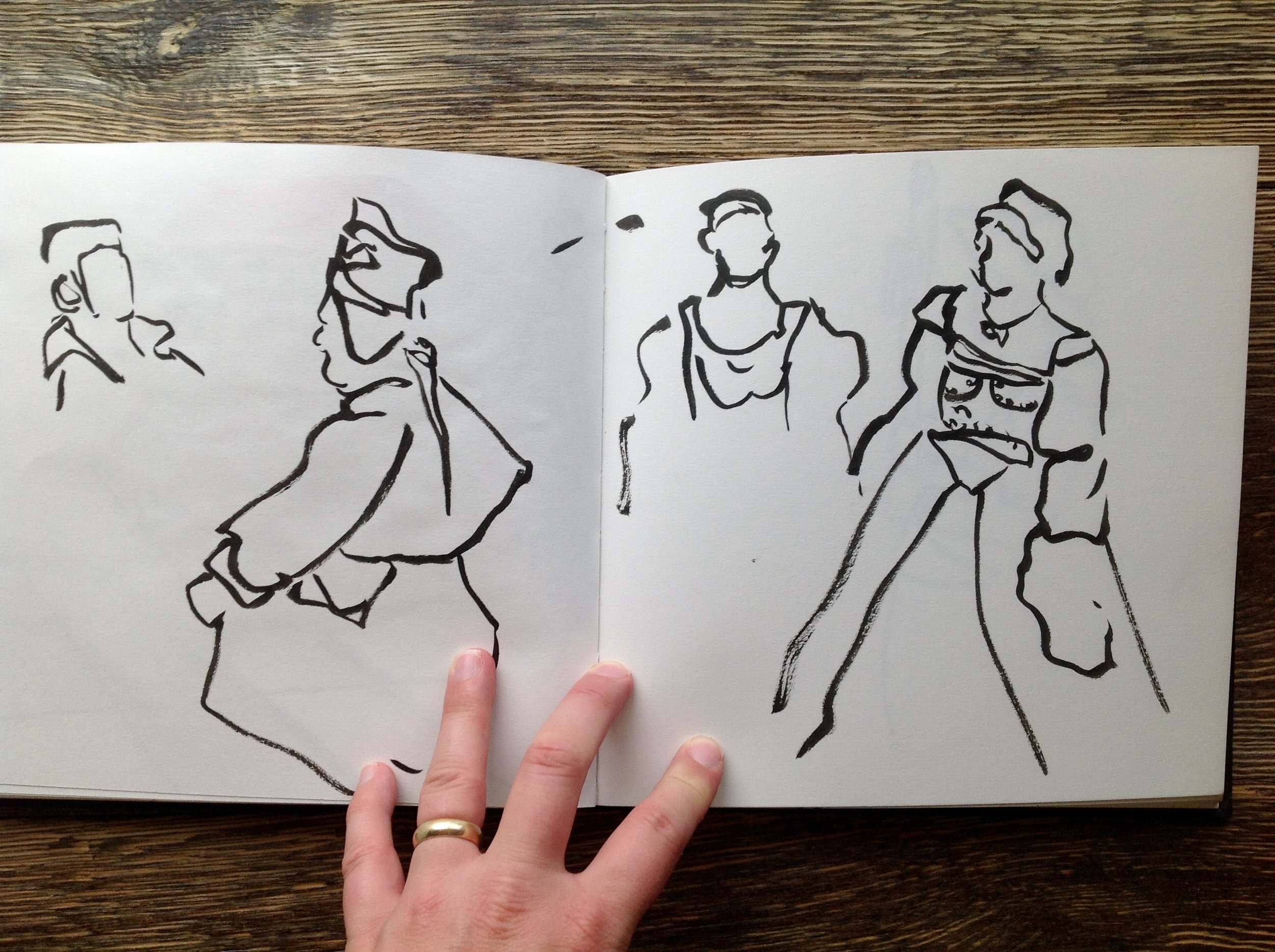 I attempted to sketch a couple of the Renaissance performers as they went through the motions of a dance. I am planning to attend and sketch the Renaissance Fair in October, which should be a lot of fun.