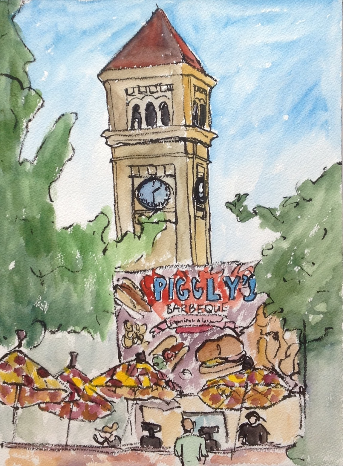 Piggly's Barbeque had meat spinning on skewers and the smokey smell of BBQ filled the air as I sketched the Clock Tower overlooking all the activities.