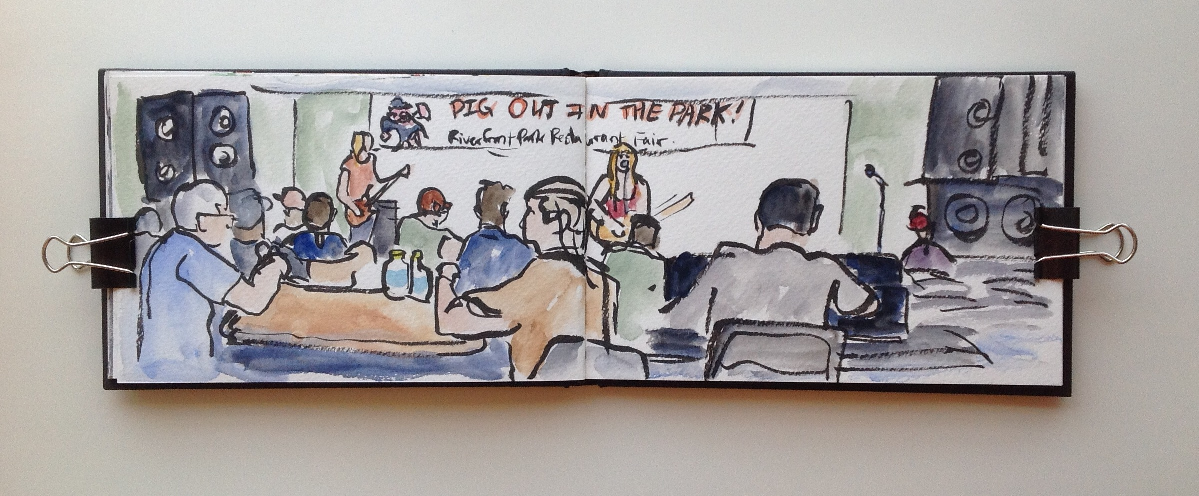 Pig Out isn't just about food, there are plenty of concerts as well! I had a great time sketching the lunch time crowd while enjoying fabulous live music.