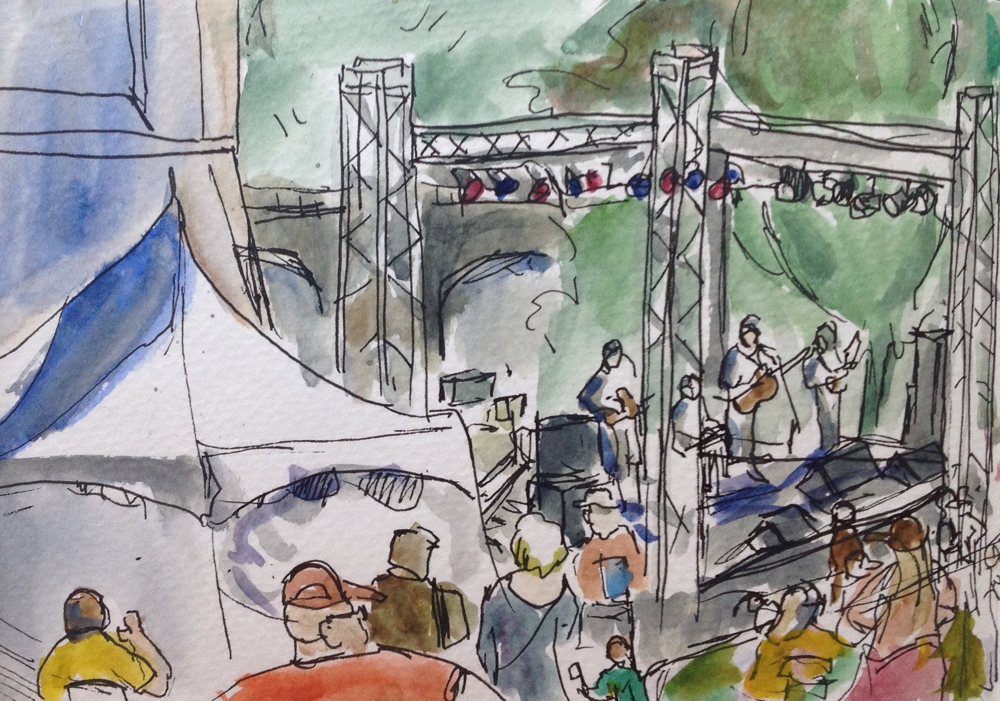 Here is a sketch of a concert at the Clock Tower field at last year's Pig Out in the Park.    Did any of you go to Pig Out in the Park? What was your favorite thing to eat? I had a gyro, but was sorely tempted by a block of fries!