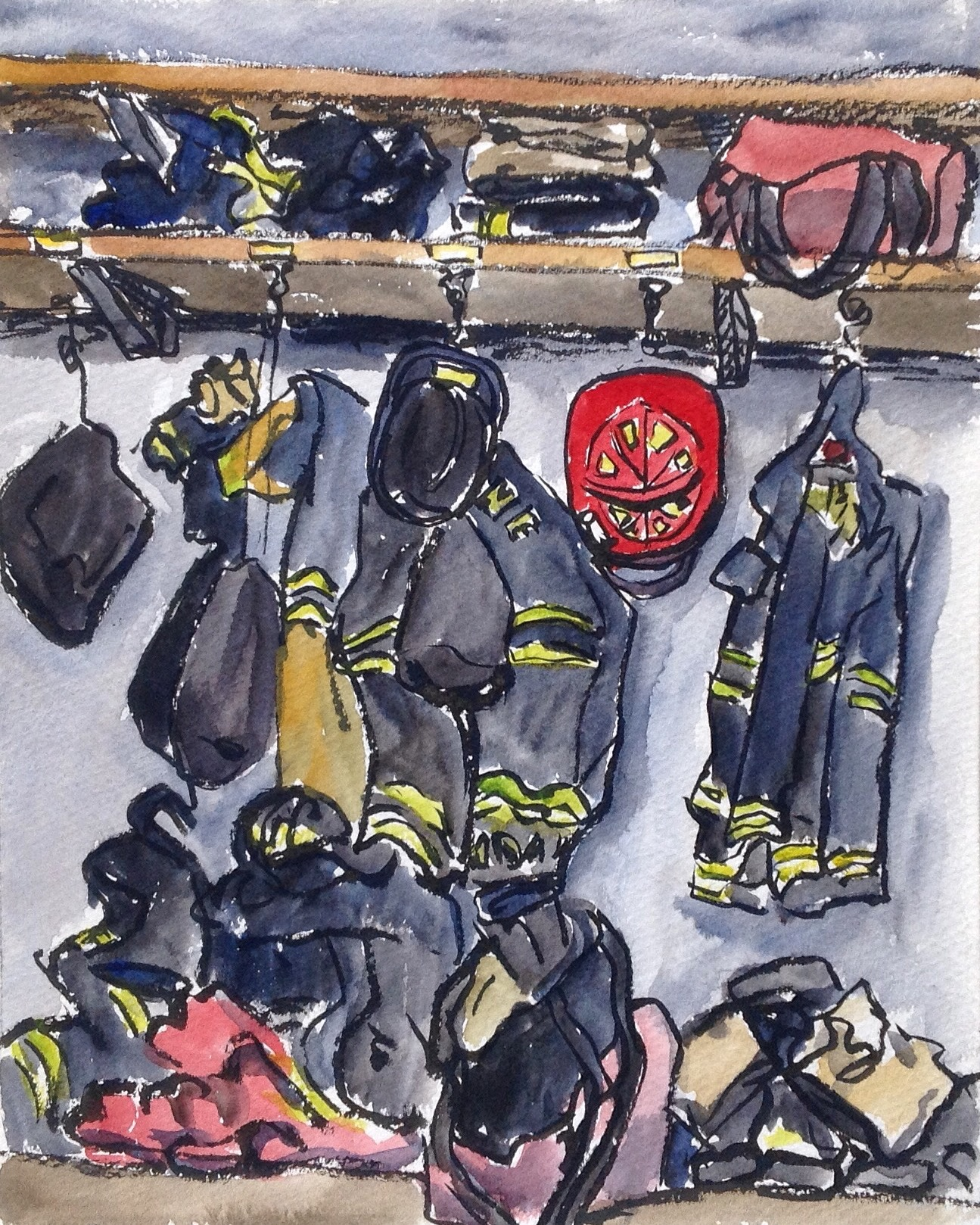 This classic scene caught my eye-coats, bags, and helmets hanging on their hooks, ready to for the firemen to swing into action!