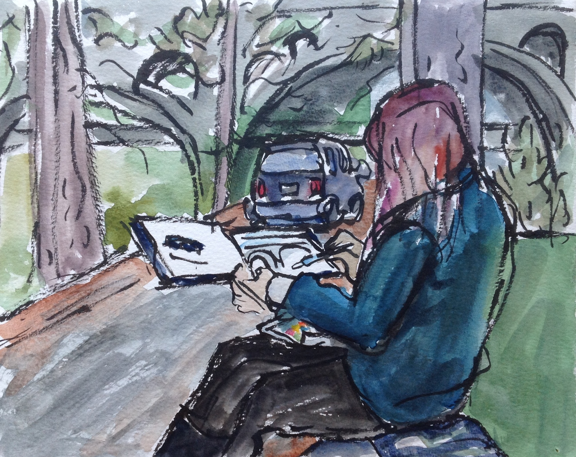 Sketching other sketchers when out on an excursion is a delightful, meta practice. They are usually engrossed in what they are doing and don't move around a lot!
