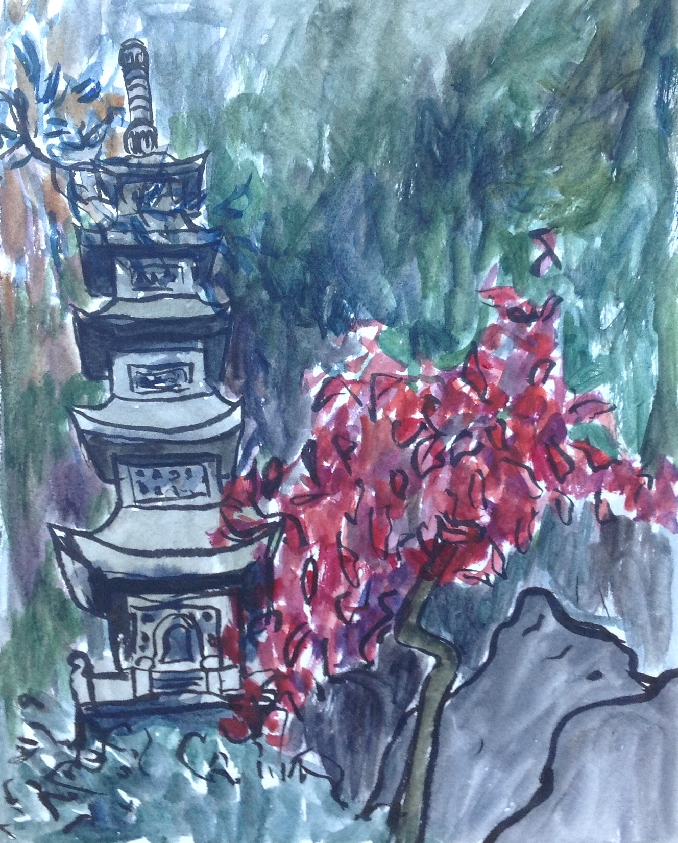 To paint this stone pagoda, I balanced precariously on a rock along the walk way, trying to stay out of the way of passersby.