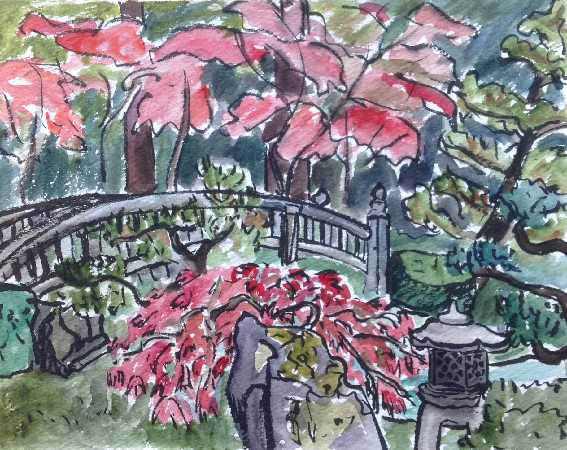 On the day that I sketched this, there were only a few visitors standing on the bridge, but when I returned to paint the stone lantern above, the bridge was crowded with people taking photos!