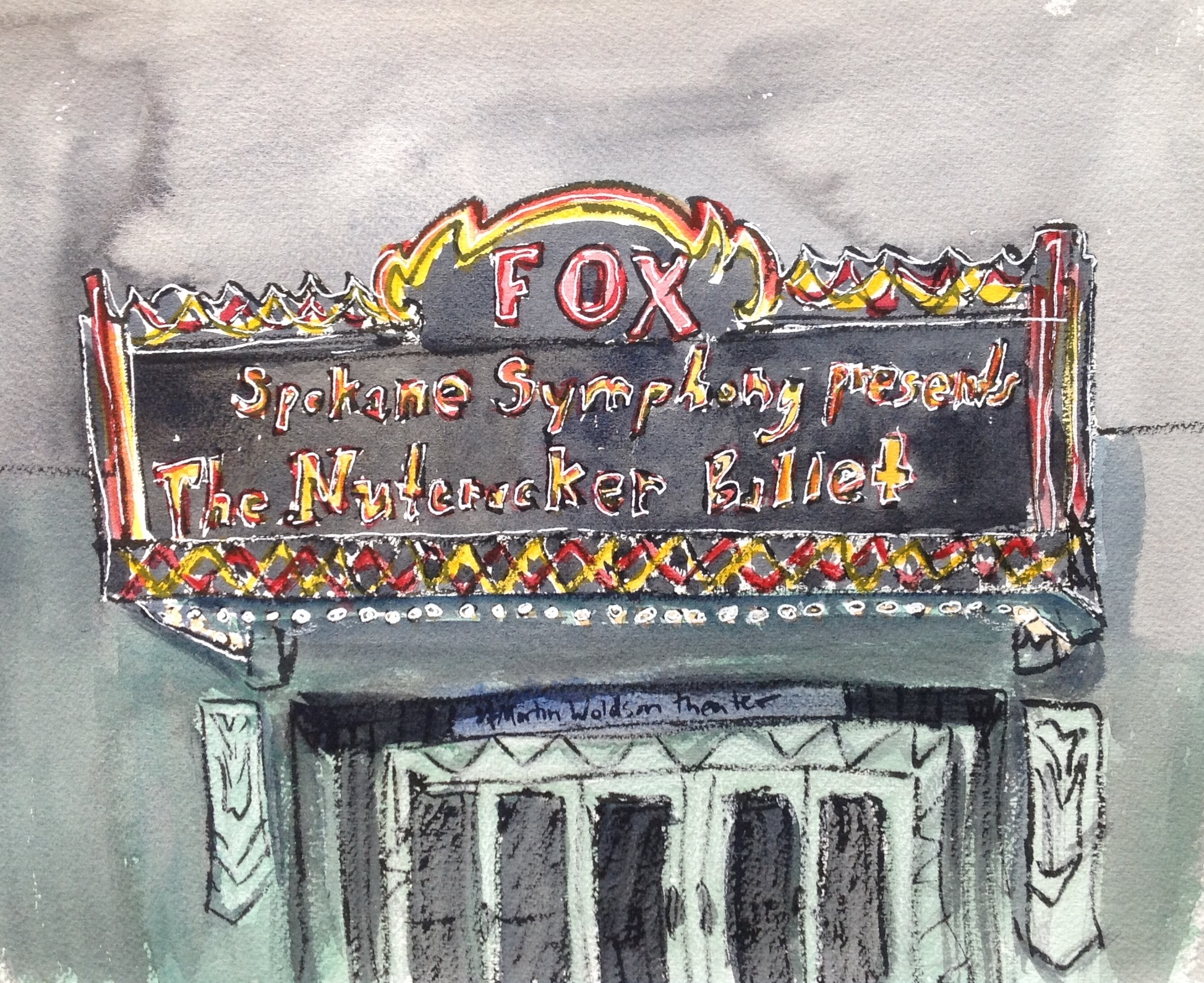 Before the Nutcracker started, my friend Molly and I went over to the Brooklyn Deli for a little something to nibble. While we were waiting for our food to arrive, I sketched the Fox Theater Marque over the 1st Avenue entrance. There's nothing like beautiful, magical theater on a cold winter's night.