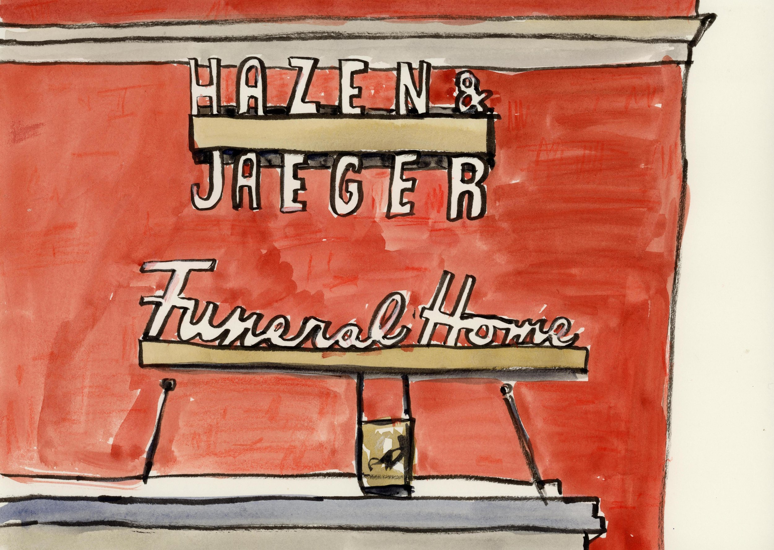 Hazen Jaeger is a respected funeral service, but what caught my eye was the fabulous signage lettering on the side of their building and the incredible molding and architectural embellishments on the frontage.