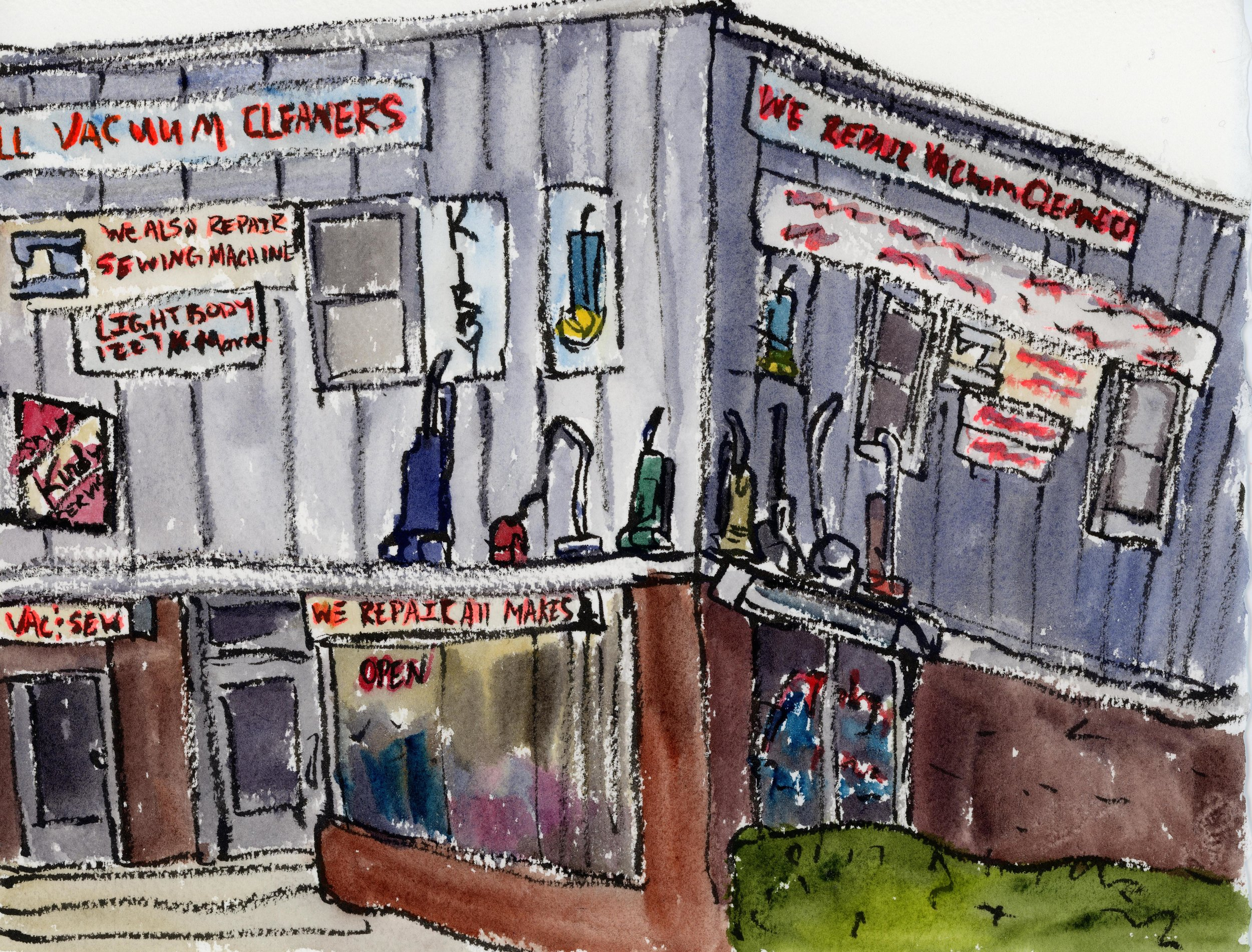 I've always loved this little building. Seeing these vacuums hanging out on the walls always makes me laugh whenever I drive by. Plus the fact that a small business focusing on sewing machine and vacuum repair still kicking is great. This was painted in my car with the heater on to keep me from freezing. Winter puts a cramp in my plein air painting habit!