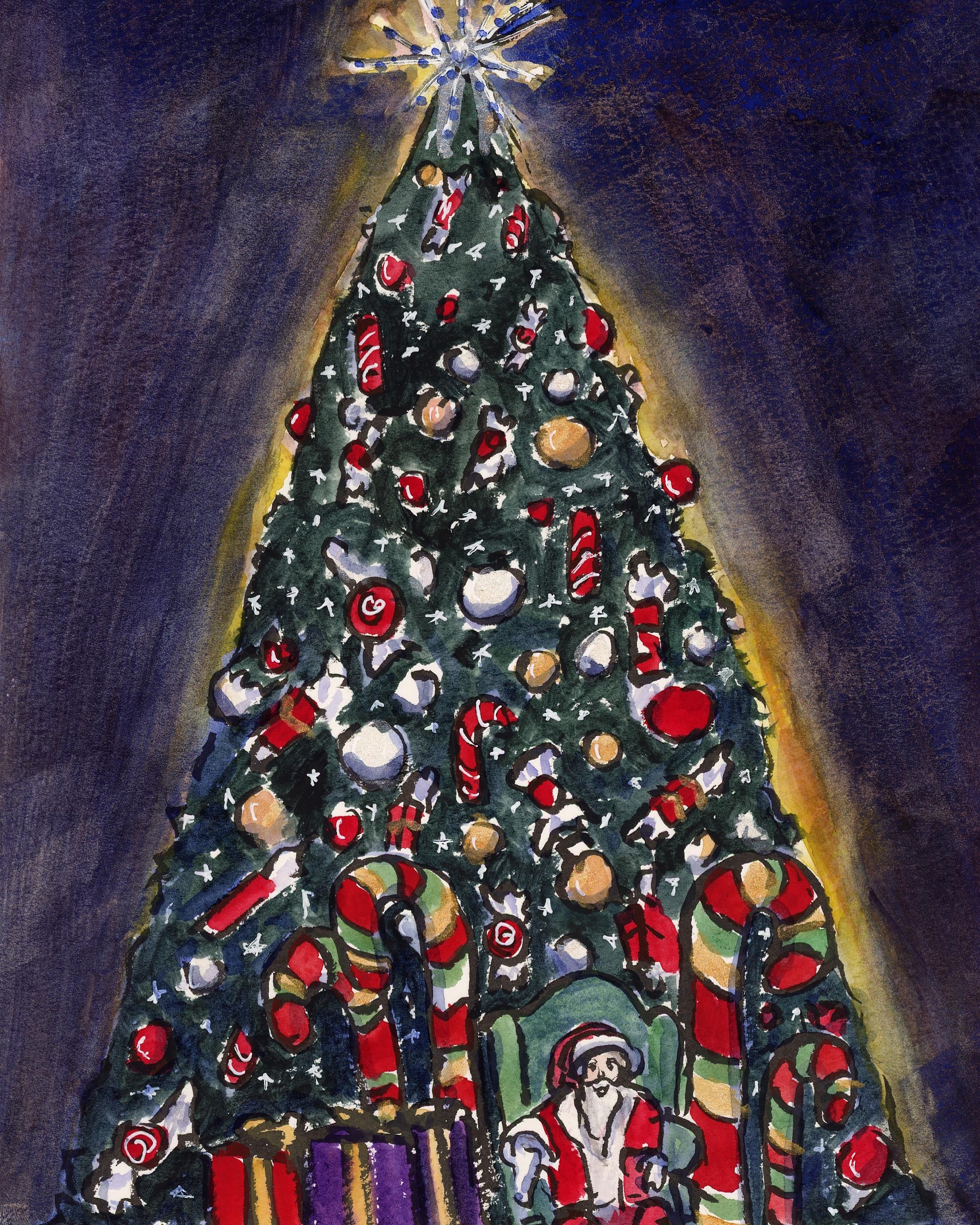 This epic Christmas tree was found in River Park Square Mall. It is SO TALL! Santa was busy with quite a line of children excited to see him and his cheer and kindness warmed my heart. I sketched this sitting next to the escalator in the entryway and for a while, my view was blocked by a high school band group waiting to perform Christmas music. It's a busy season!