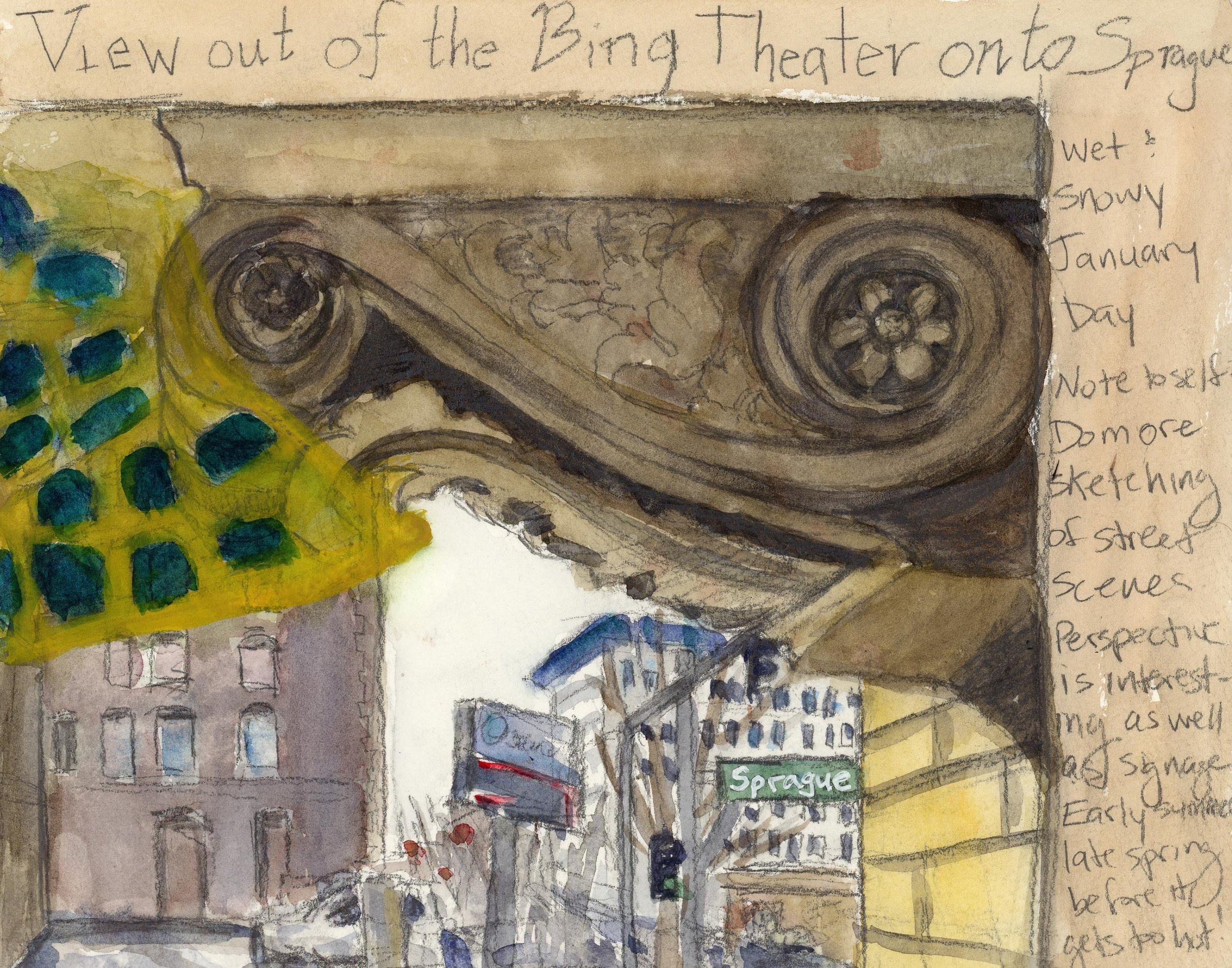 This one is rather different than the other paintings. I'm trying to use Artist's Eye on Spokane to push myself in new directions and experiment, rather than just cranking out the same drawings and paintings the whole time. This is a view from the inside lobby of the Bing. The gold and blue shape on the left is the coffered ceiling reflecting on the inside of the window.