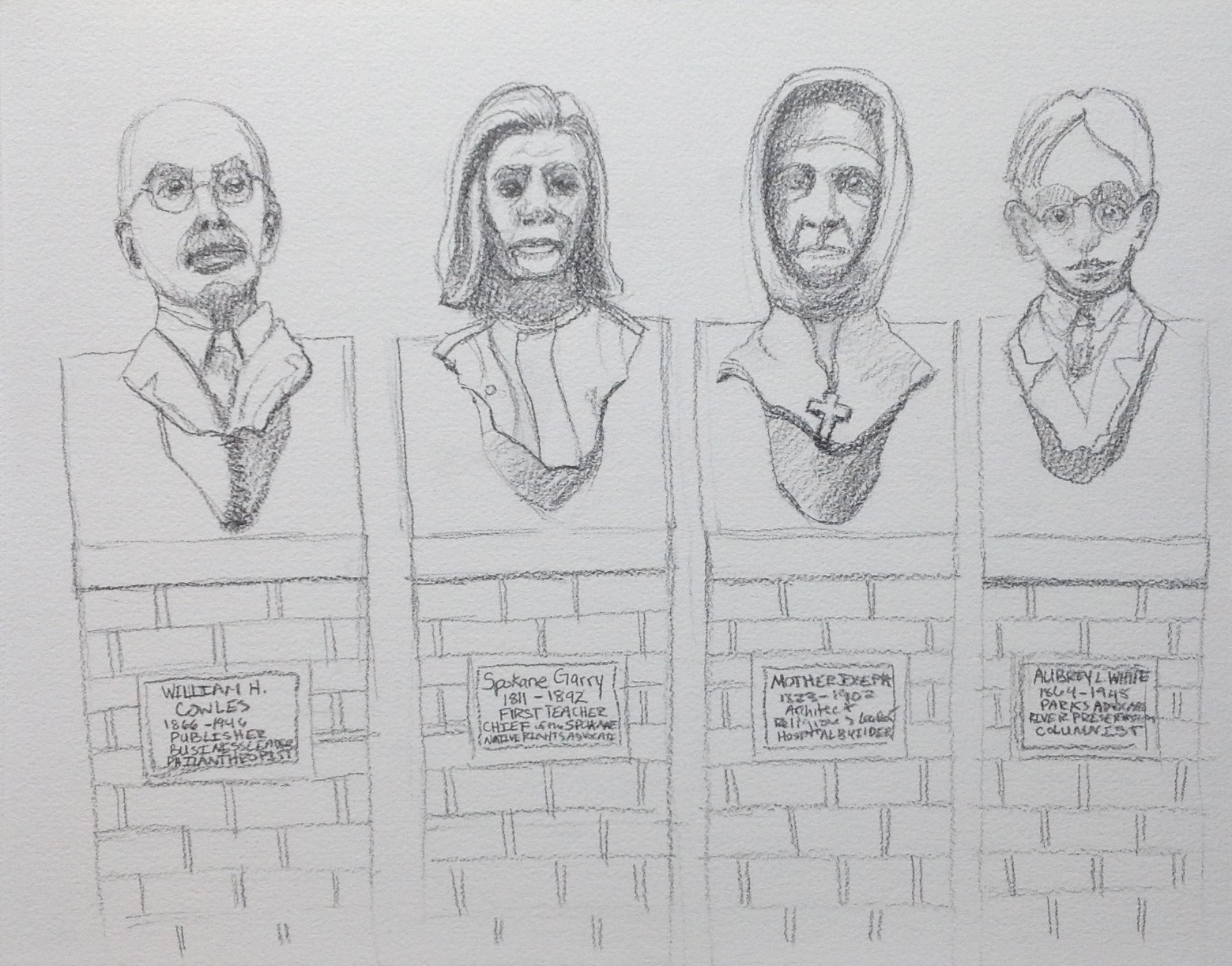 These guys (along with many others) line the outer wall of the Printing Annex. Done by Wayne Chabre, these busts depict important people in Spokane's history. They aren't in this order or positioned this close to each other in reality. I just picked four of the busts that I was drawn to to paint (no pun intended!). If you're interested in more, I highly recommend going on down to Monroe to look at it!