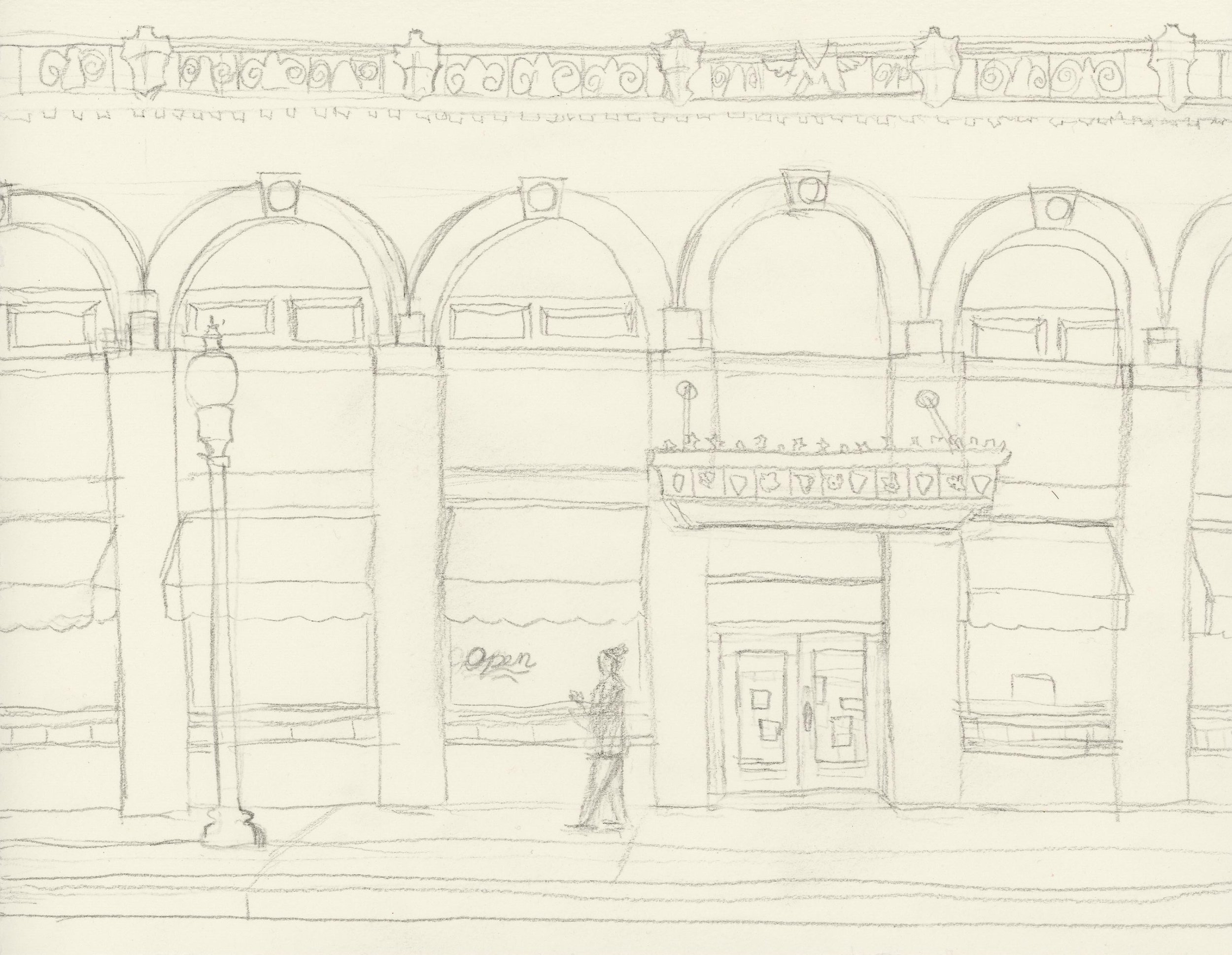 Initial drawing-only one person!  I'm really starting to lost the lamp posts here in Hillyard.