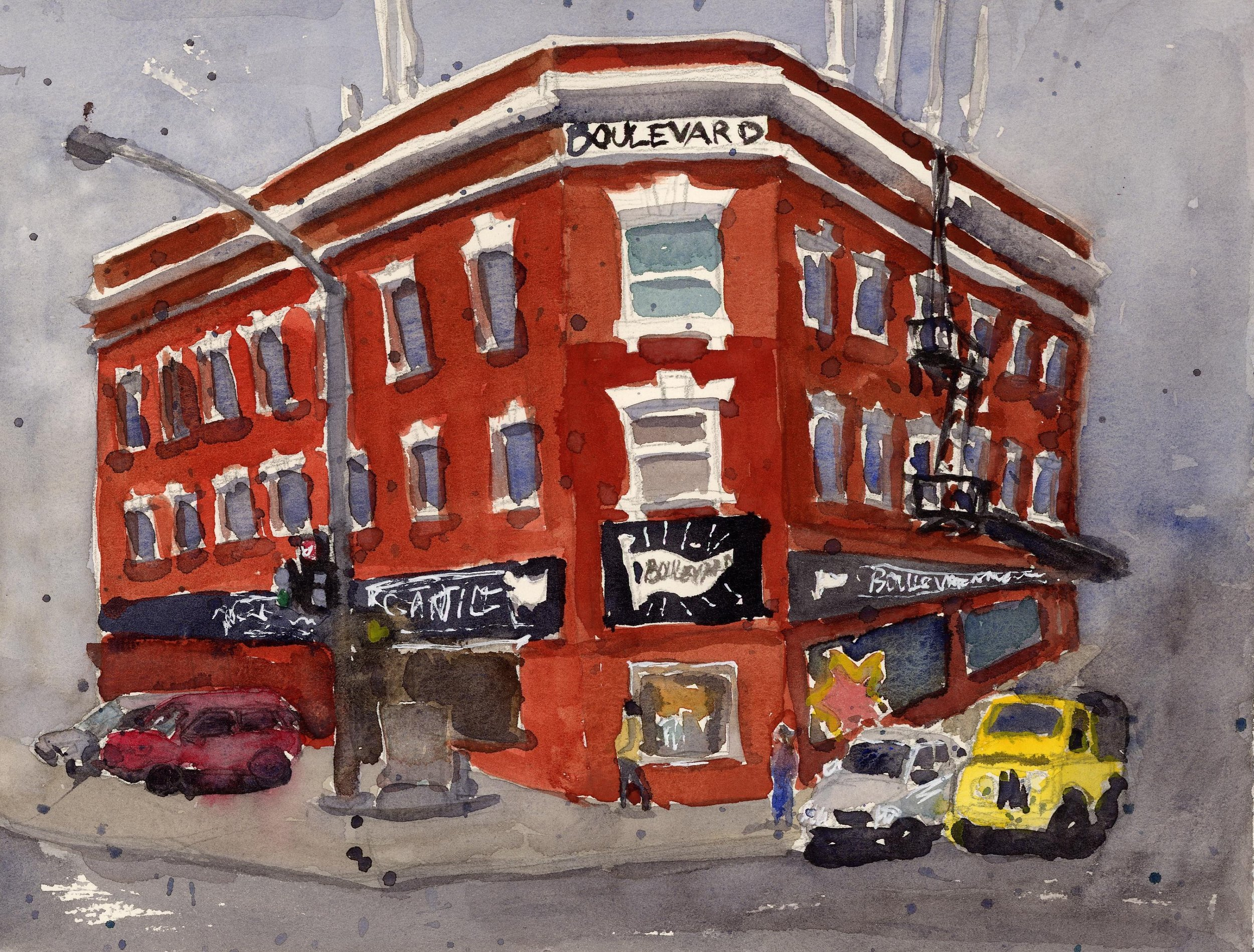 I love the shape of the Boulevard Mercantile building. It reminds me of the Flatiron building in New York. I also love the antennae and other doodads on the roof. It makes it seem like the building is somehow alive and listening to all the bustle going on around it. I stopped by one rainy day to admire it and this painting is the result.