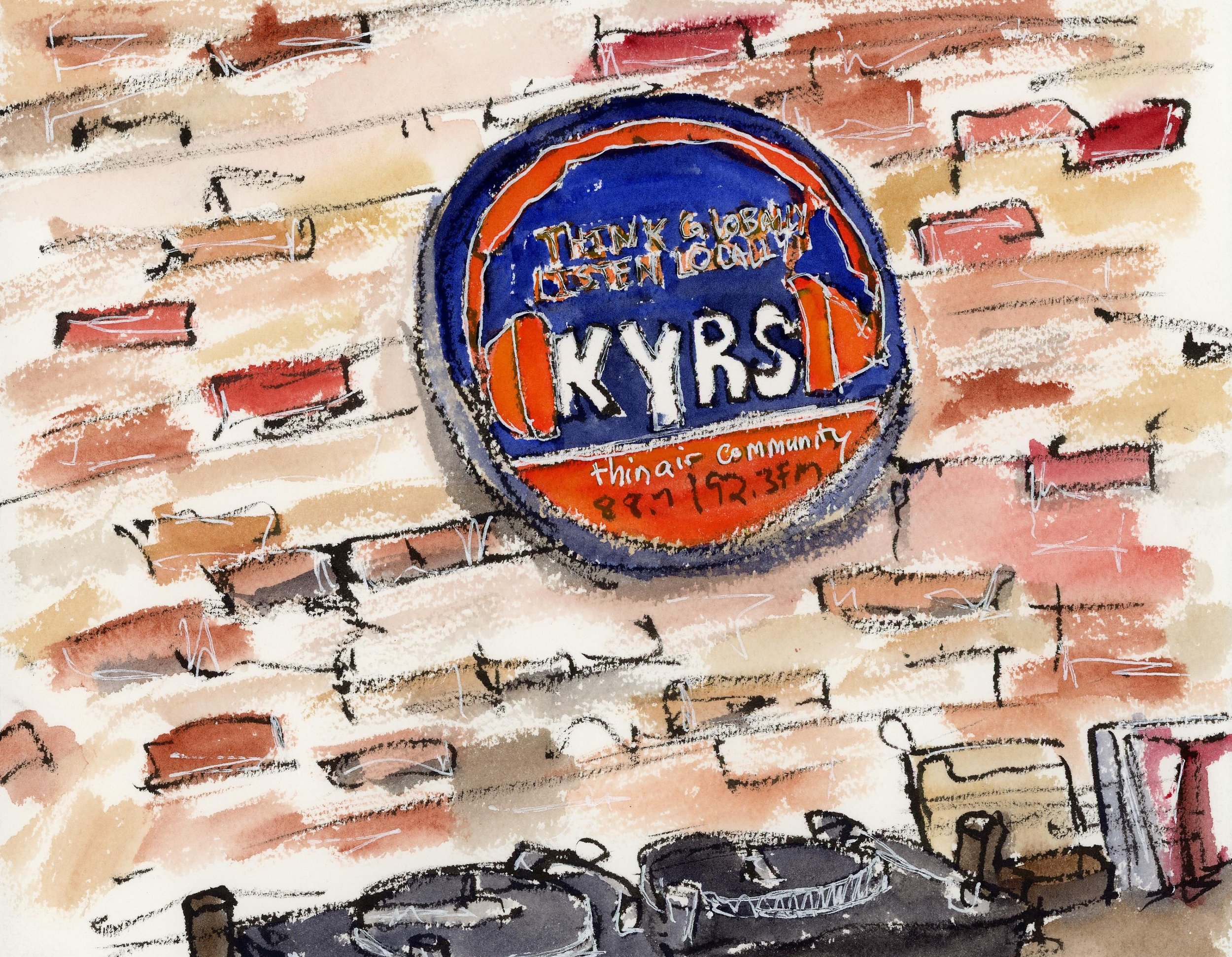KYRS is inside the Community Building down on Main Street, one of the many lovely brick buildings in town and I loved that they left the interior walls as the rough brick. There are so many different colors and shades to brick! Just delightful.