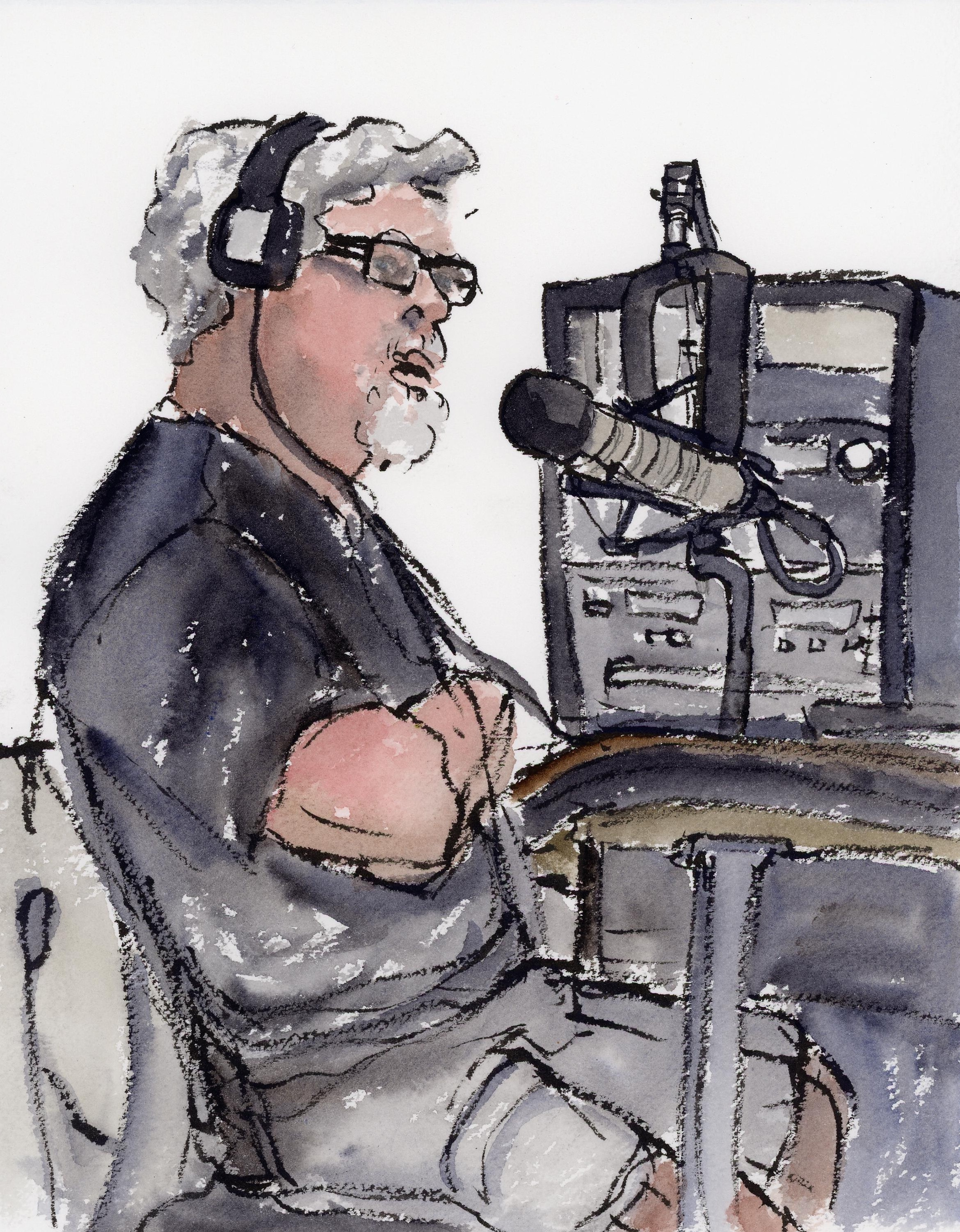 Paul of the Spokane SOS radio program, let me sit in the recording booth with him while he interviewed a groups of former Peace Corps volunteers about their experiences with the Peace Corps. There were four of them plus Paul and an extra gentleman helping with the recording machinery plus me so it was a little tight! I did this painting while sitting on the ground looking up at Paul and I am super pleased with how it came out, except for one thing. Hey Paul, I know this is radio not tv, but how about wearing some color? Haha!