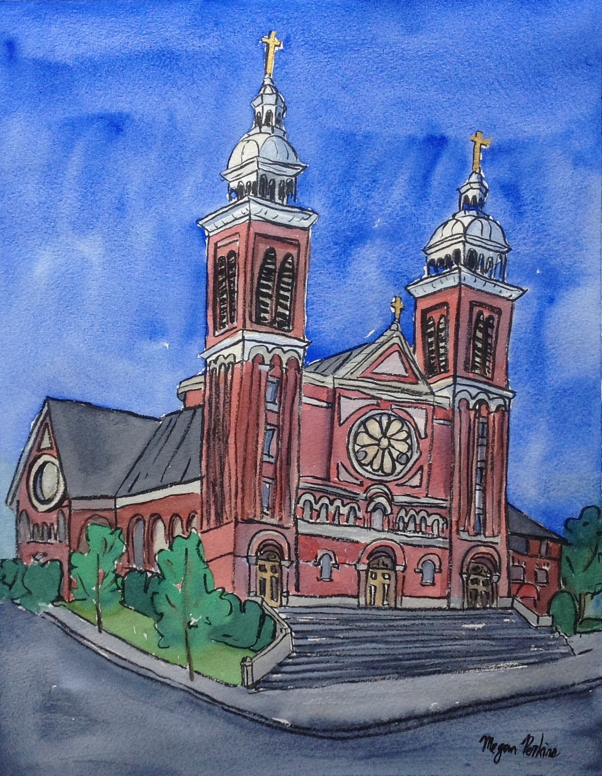 """I'd describe the brick that makes up the Cathedral as """"salmon,"""" though """"pink"""" works just as well! I am constantly astounded by the range of colors in the brick buildings I find all over town. Brown, orange, burnt siena, umber, pink, salmon, cream, ochre and more!"""