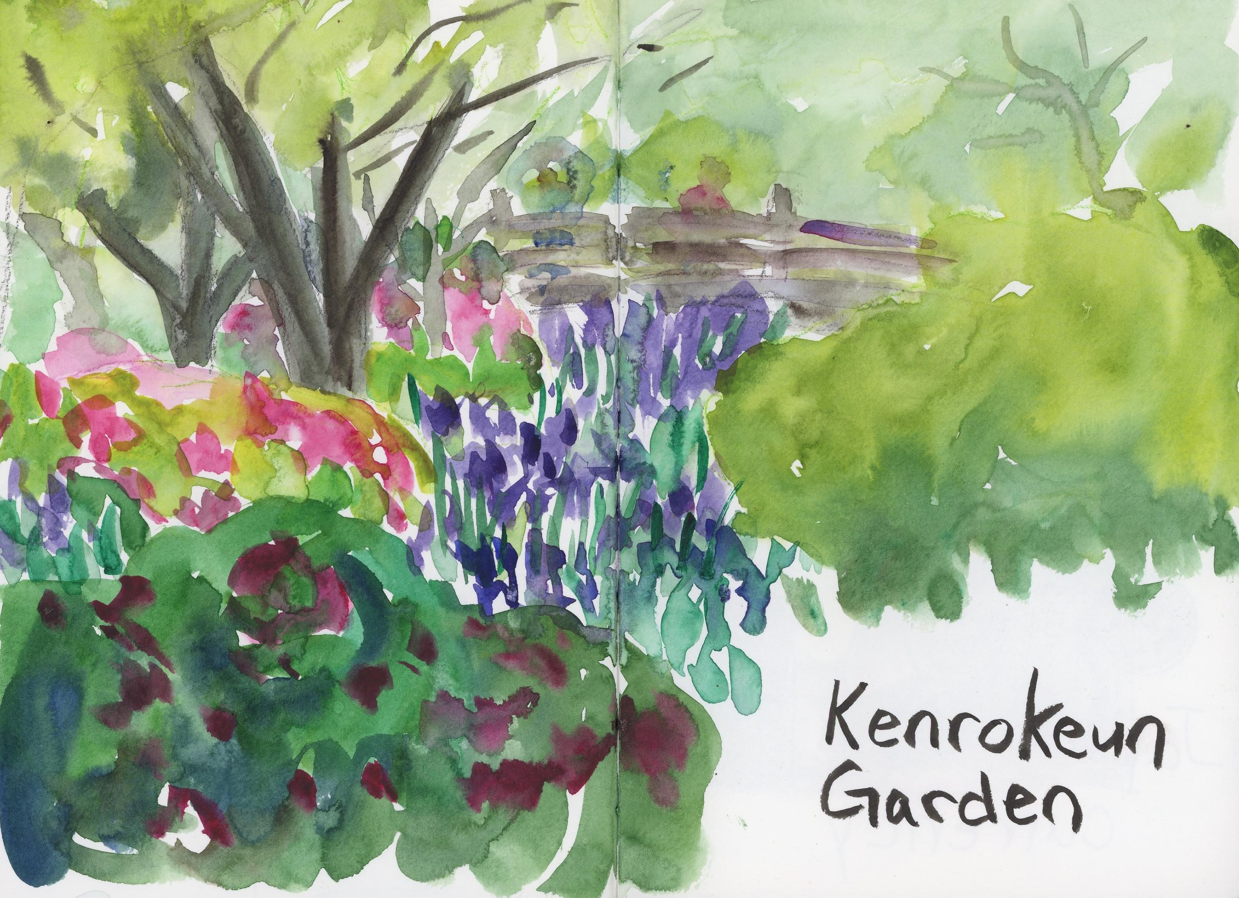 Kenrokeun Garden is a beautiful walking-style garden that reminded me of a Japanese Versaille. In thirty minutes I did this speed sketch of a bridge of a river of purple irises. I wish I had had more time to do them justice.    One more post to go about Japan!