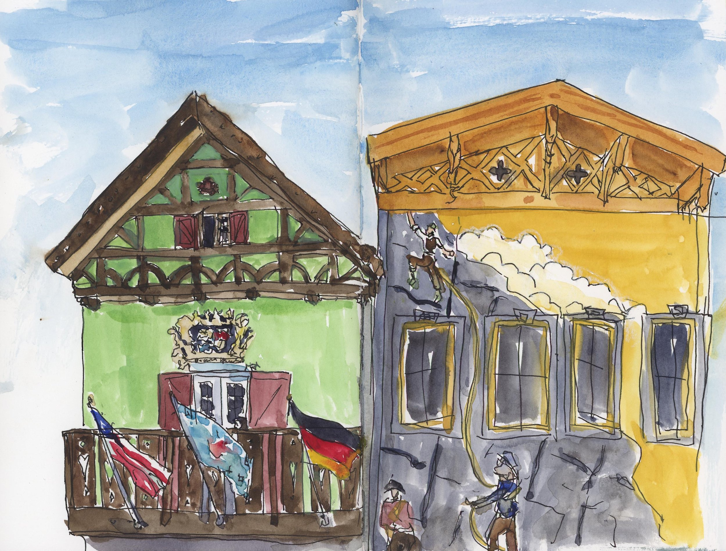 It was the Accordion Festival at Leavenworth so we got serenaded by a lot of polka. A concert was going on right behind me as I sketched the fancy facades of these buildings.