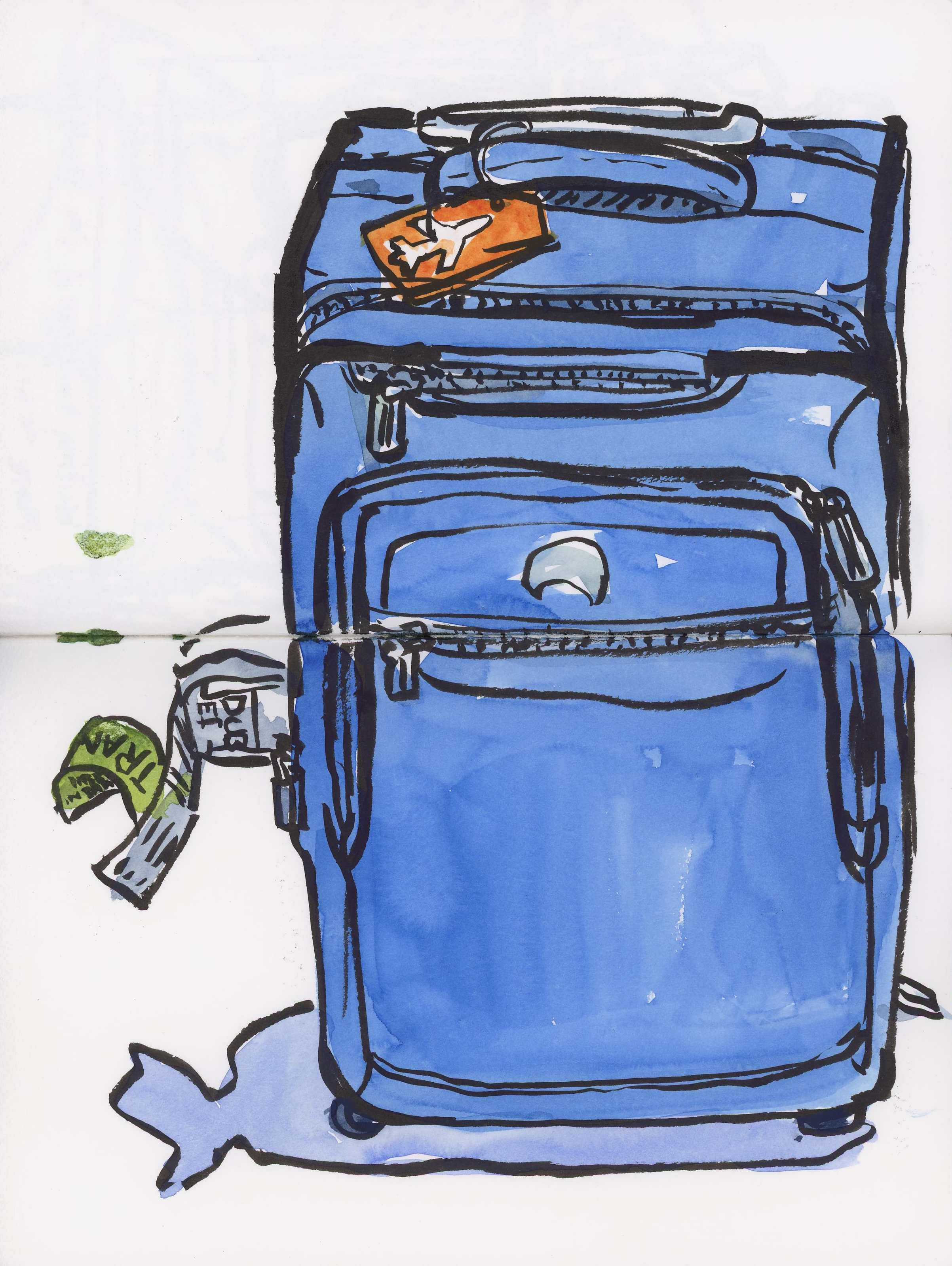 My beloved blue luggage, sketched while waiting in Seatac for my flight home to Spokane to distract myself from the way my sinuses were pounding.