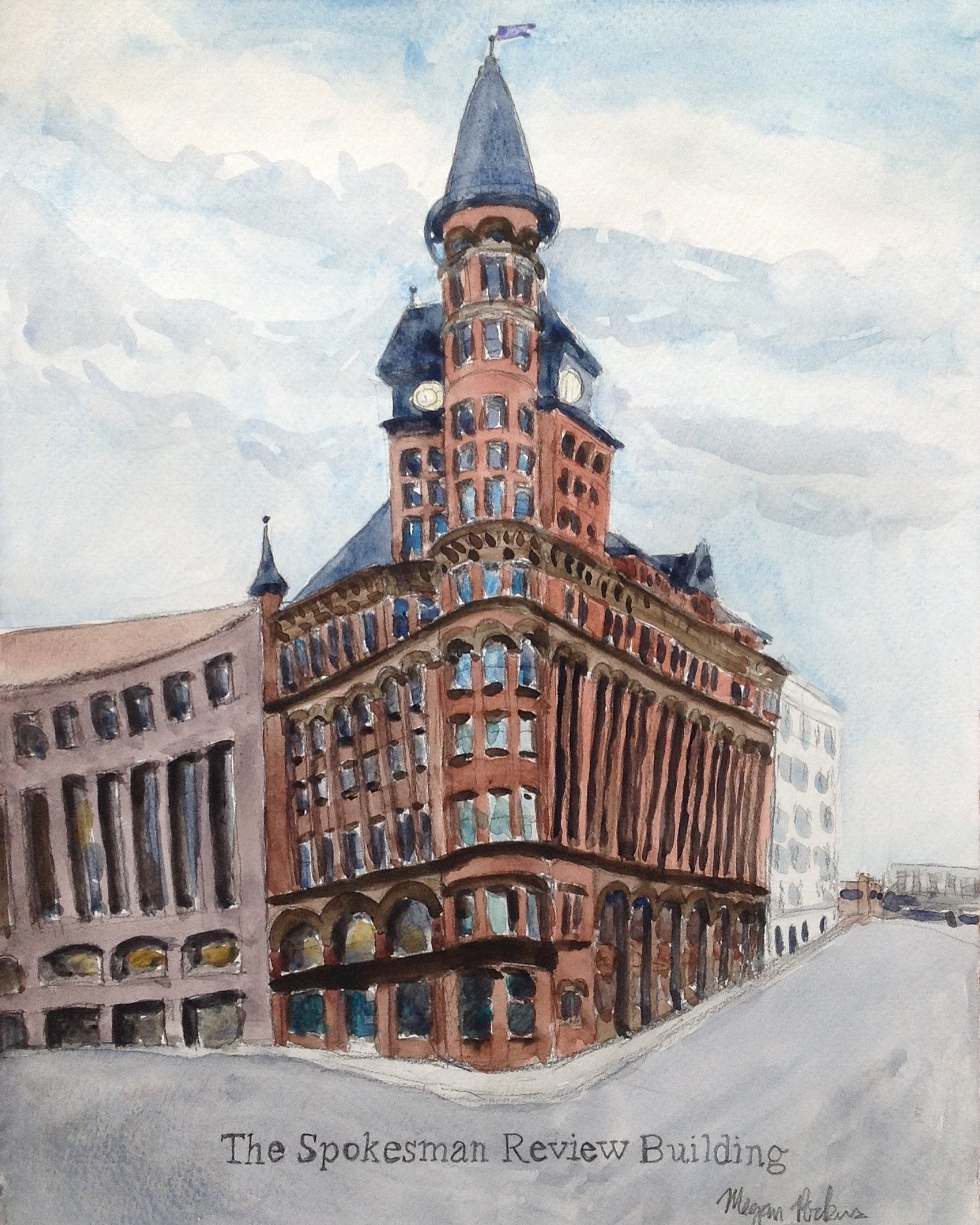 From January to May, I completed the last 20 weeks of my Artist's Eye on Spokane painting challenge. The Spokesman Review was a favorite painting!