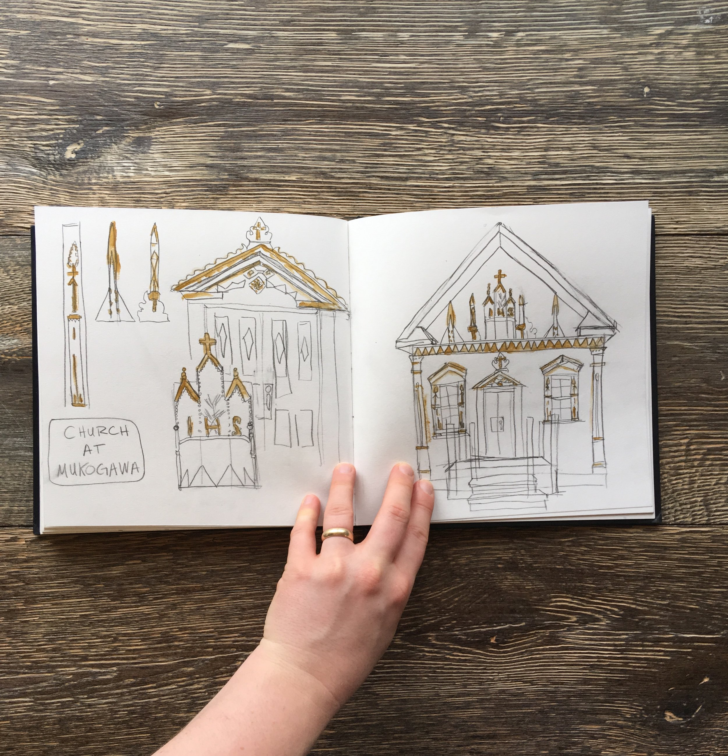 Sketchbook studies of a petite white and gold church decorated with all sorts of interesting shapes. I heard it was moved over the Fort Wright campus from Gonzaga long ago. Anyone have an information about its history?