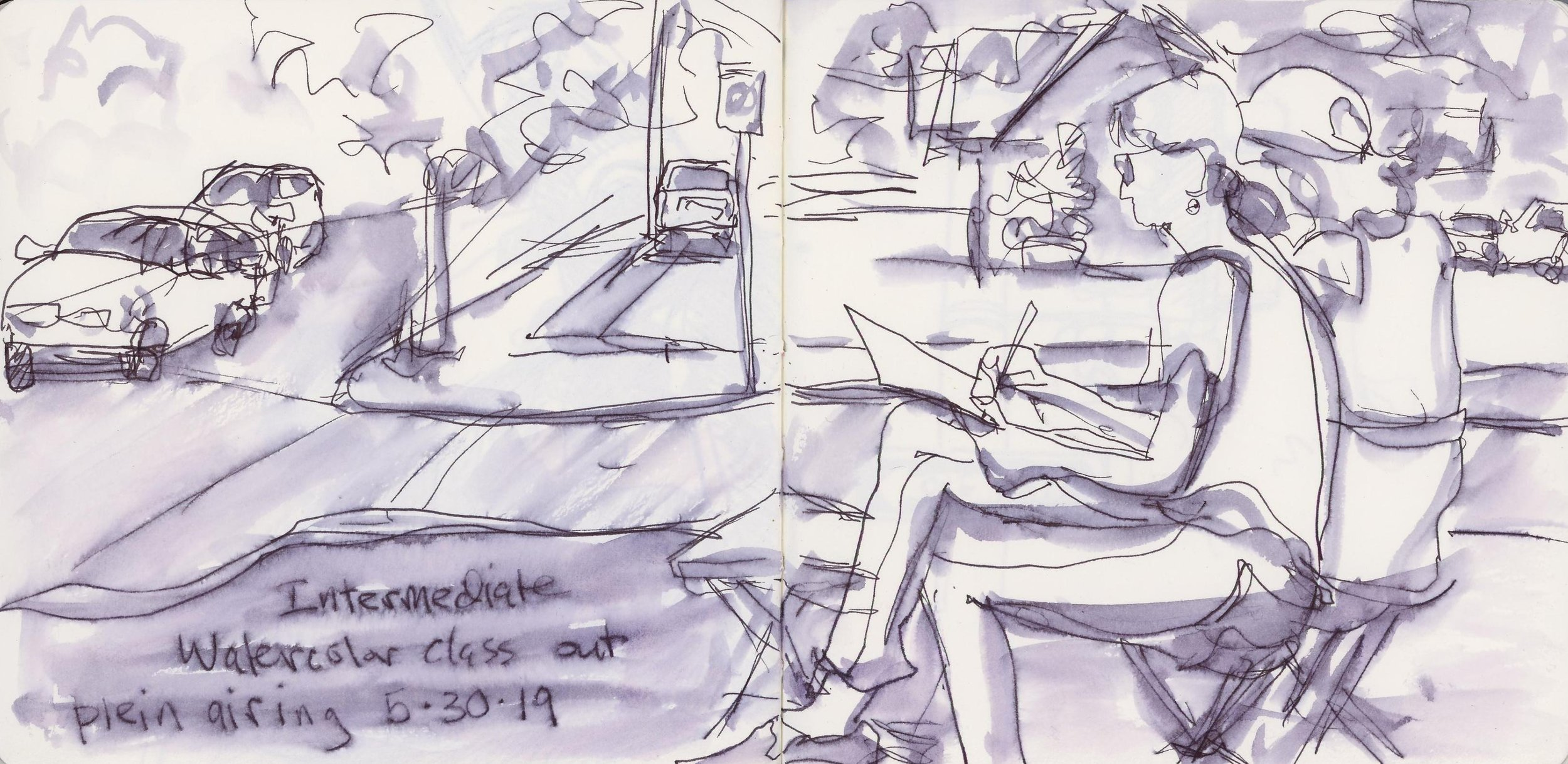 Plenty of Plein Air sketching with my Garland Sketchcrawl classes at the Spokane Art School.