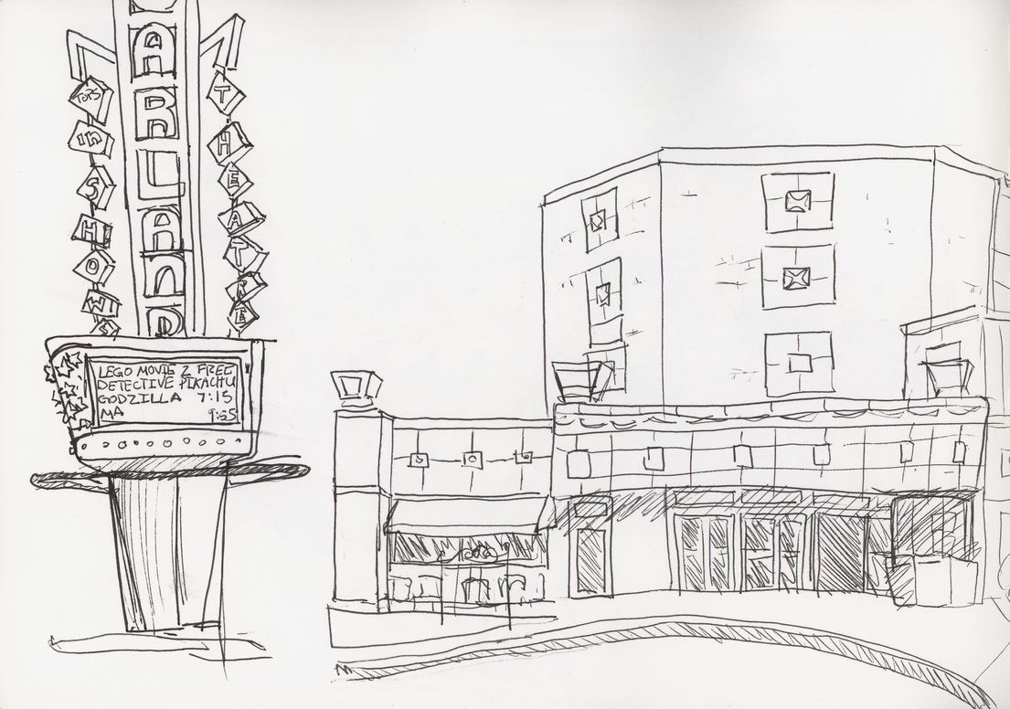 Demonstrating how trick it is to draw the Garland Theater sign at last week's class, haha!