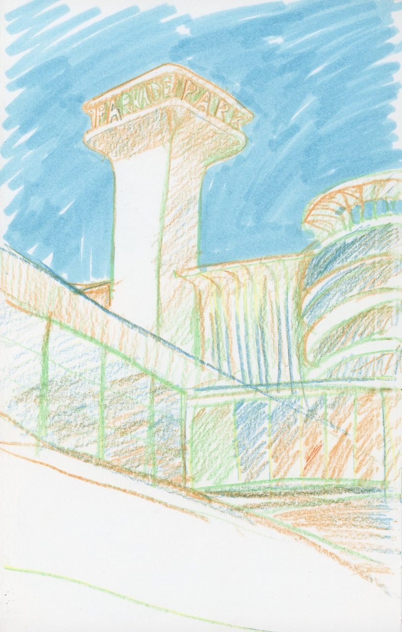 Playing with a colored pencil with a multi-colored lead (orange, blue, green, yellow) and drawing an interesting intersection of buildings downtown by the Parkade.