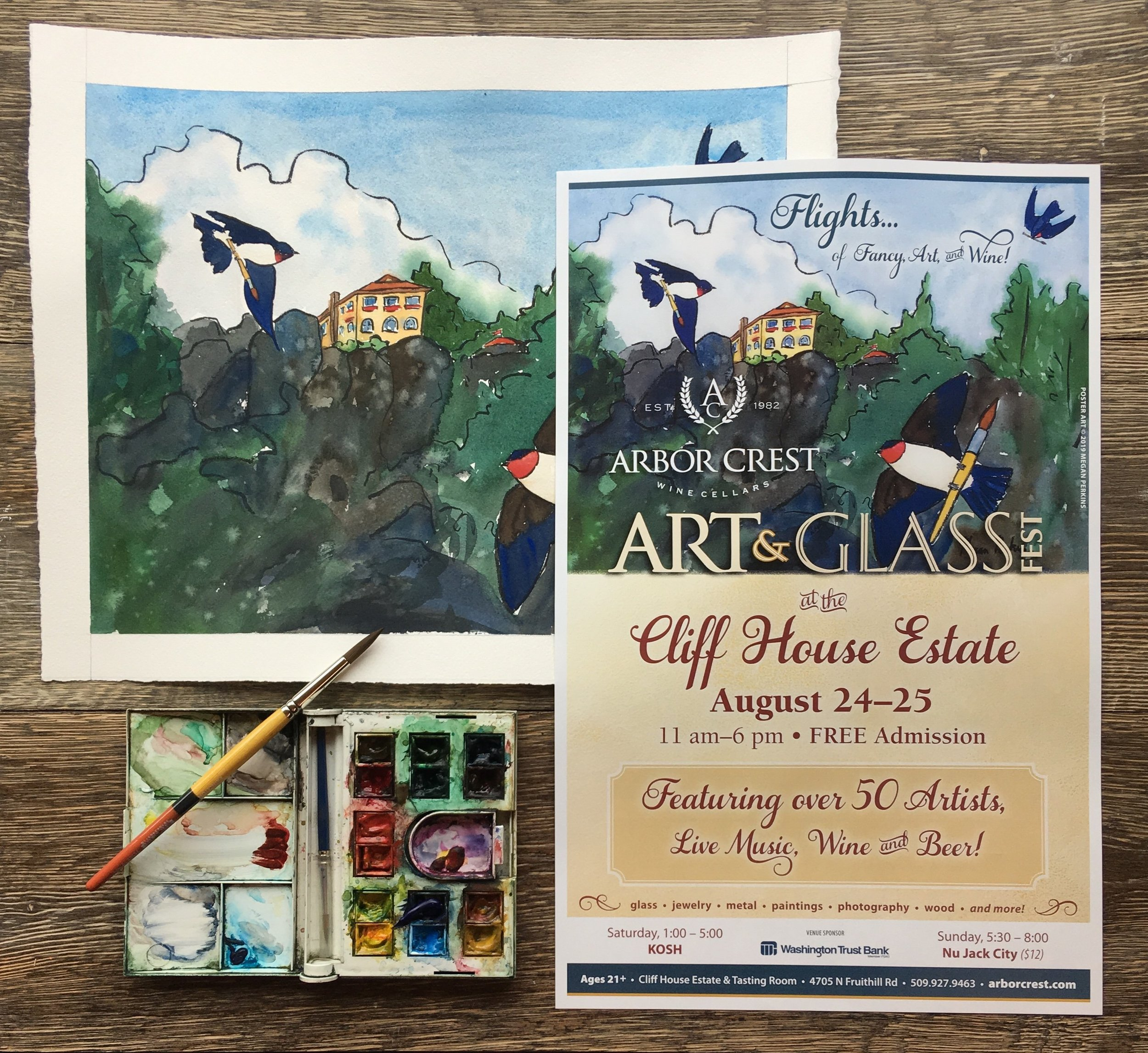 Arborcrest Art & Glass is another organization that reached out to me! I'm going to actually be at this show with all my paintings and prints AND my new calendar this Saturday and Sunday. I hope you guys will be able to come by and say hi!