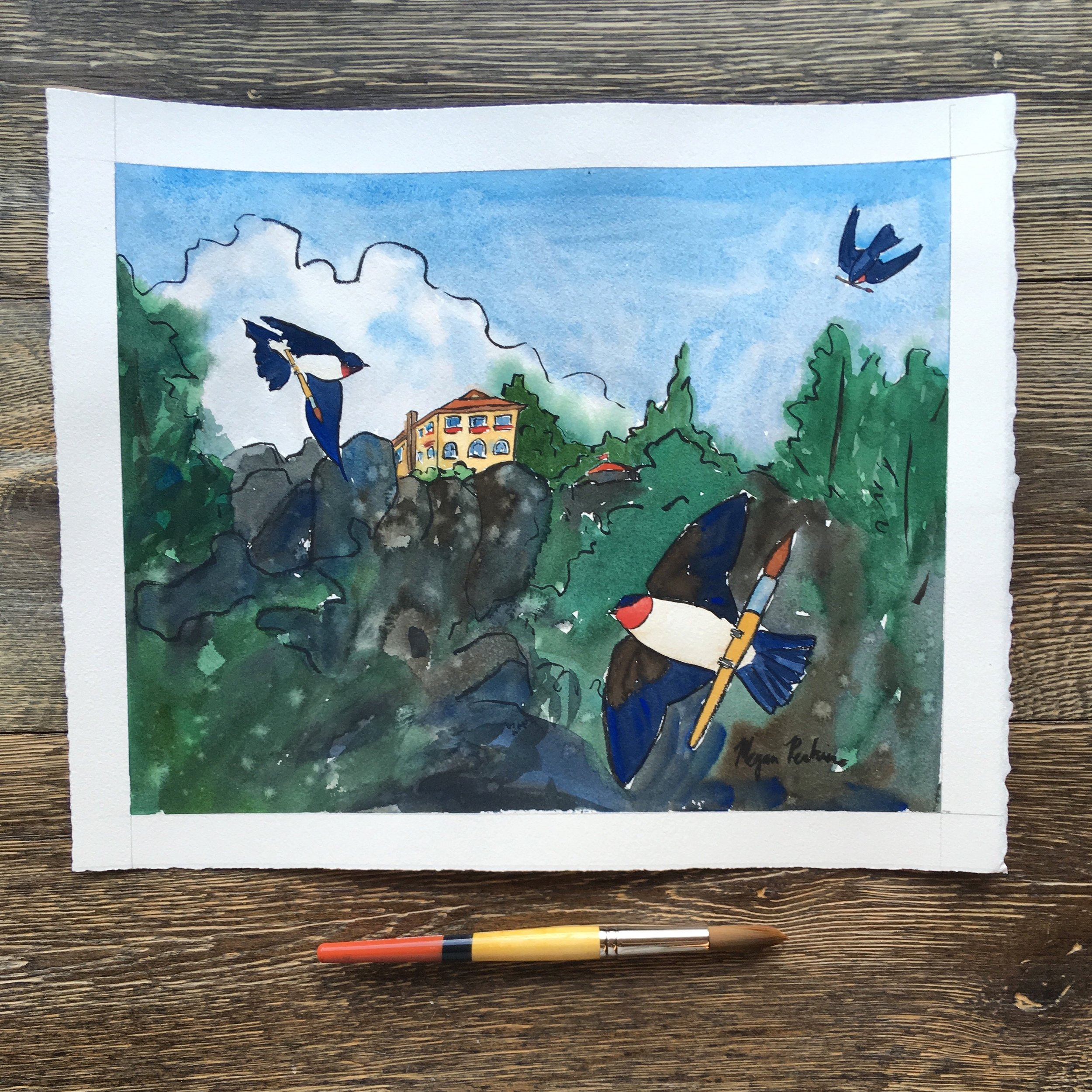 The original painting. I so love the swooping swallows at Arborcrest. I stand close to the edge of the cliff and pretend that I'm soaring over the Spokane Valley with them.