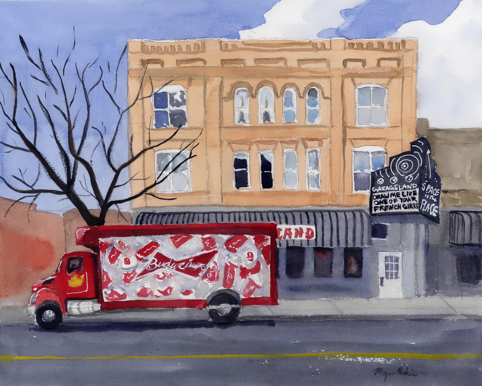 I spotted this scene back in February while walking around downtown. I just love Garageland's sign-how could I not paint it after that? And the Budweiser truck adds a great pop of color to a grey late winter's day (painted in the sweltering heat of summer, imagining a chill in the air!)