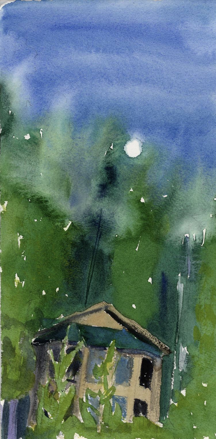 Did this painting of my aunt's lake house while day dreaming about being back at Priest Lake. Moon rise on a warm summer's evening.