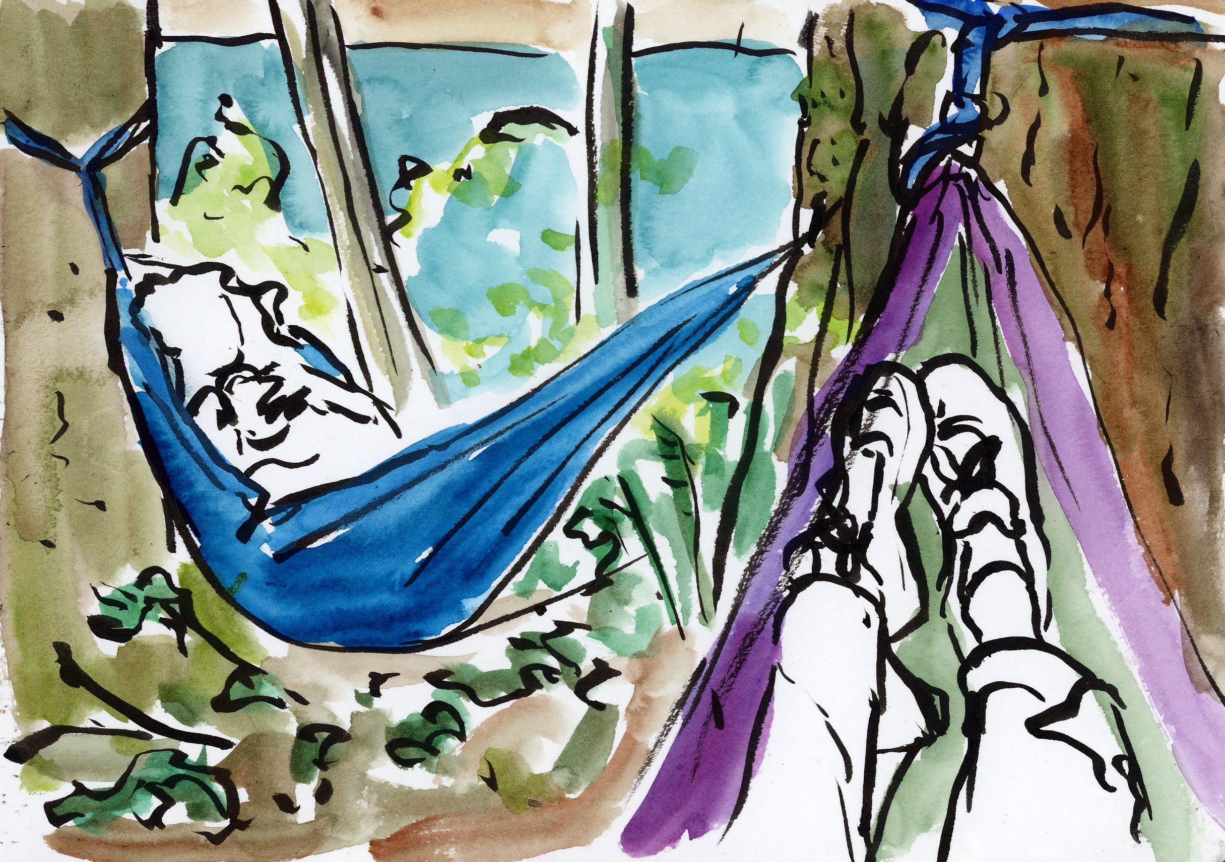 Our campsite was just yards up from the lake front and we had a great view through the trees. We hung Danielle's hammocks and we had our morning coffee and contemplation in them. I, of course, chugged my coffee and put it down so I could draw. These little stuff sack hammocks sure are fun and I can't believe how easily you can set them up. I may have to buy one!