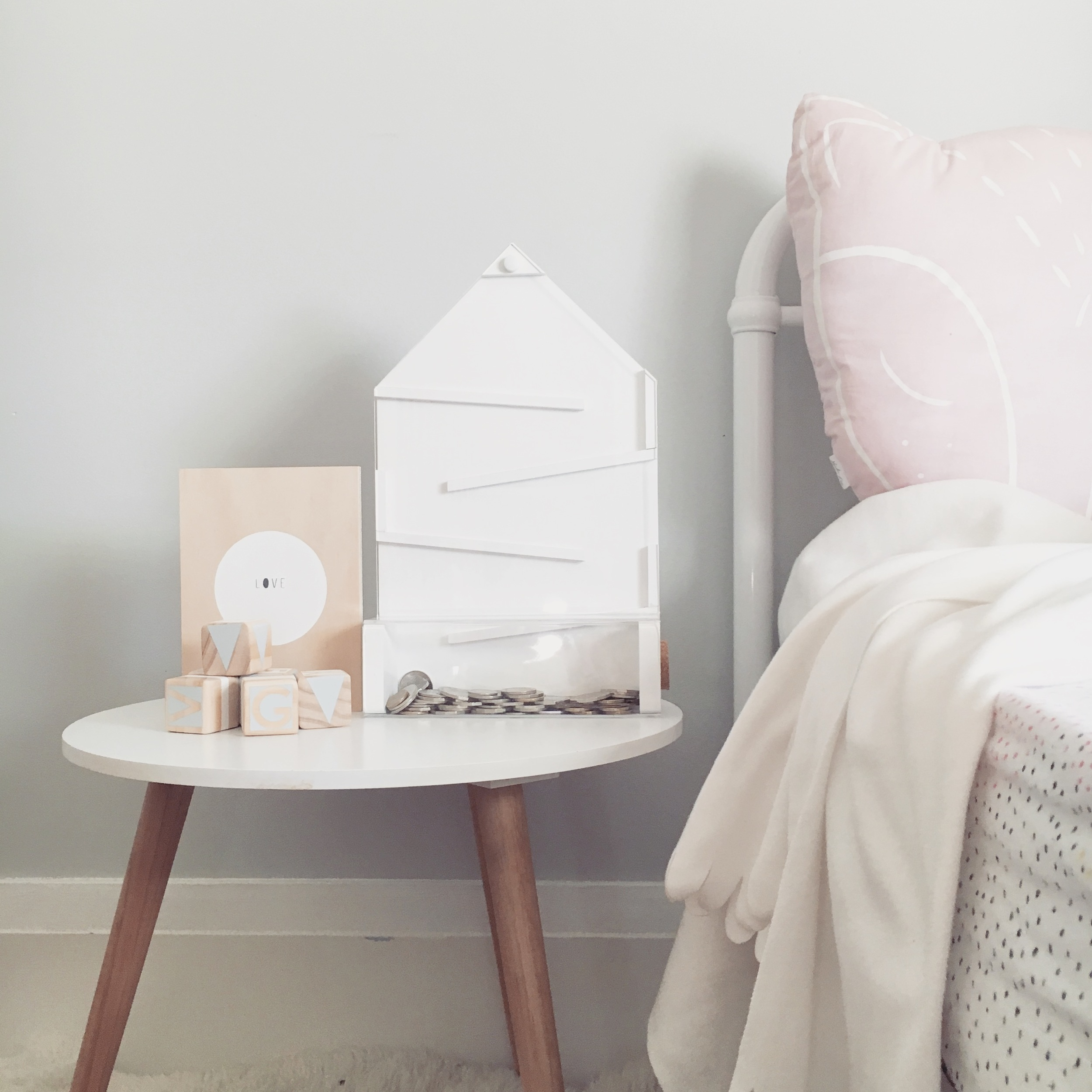 Coin Bank from Concrete Blond. Blocks from Gold Rabbit & Co. Wood Print from Me + Amber.