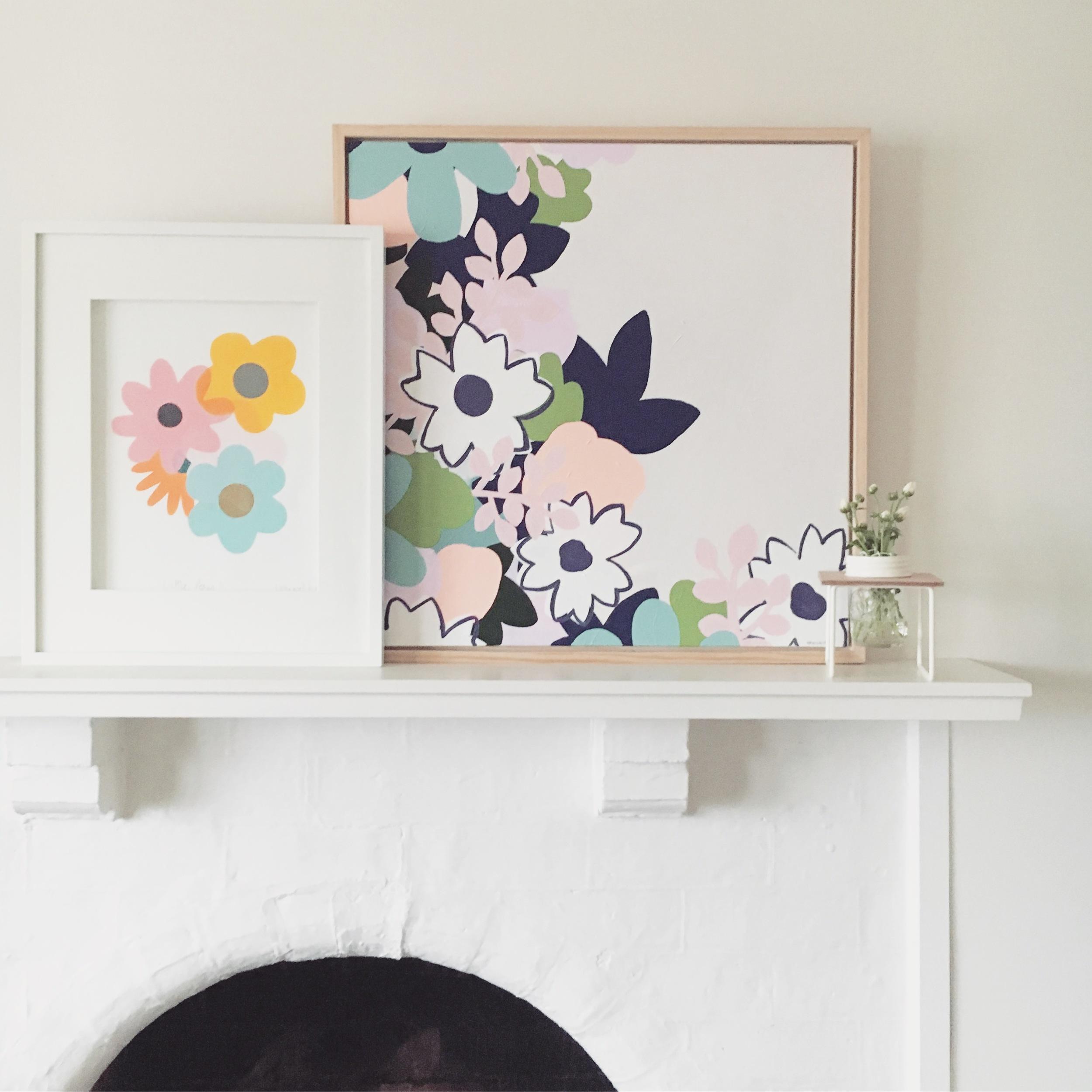 Posy Print by Lauren Smallfield Creates. Pink Lemonade Painting by Rebecca Kate Artist.