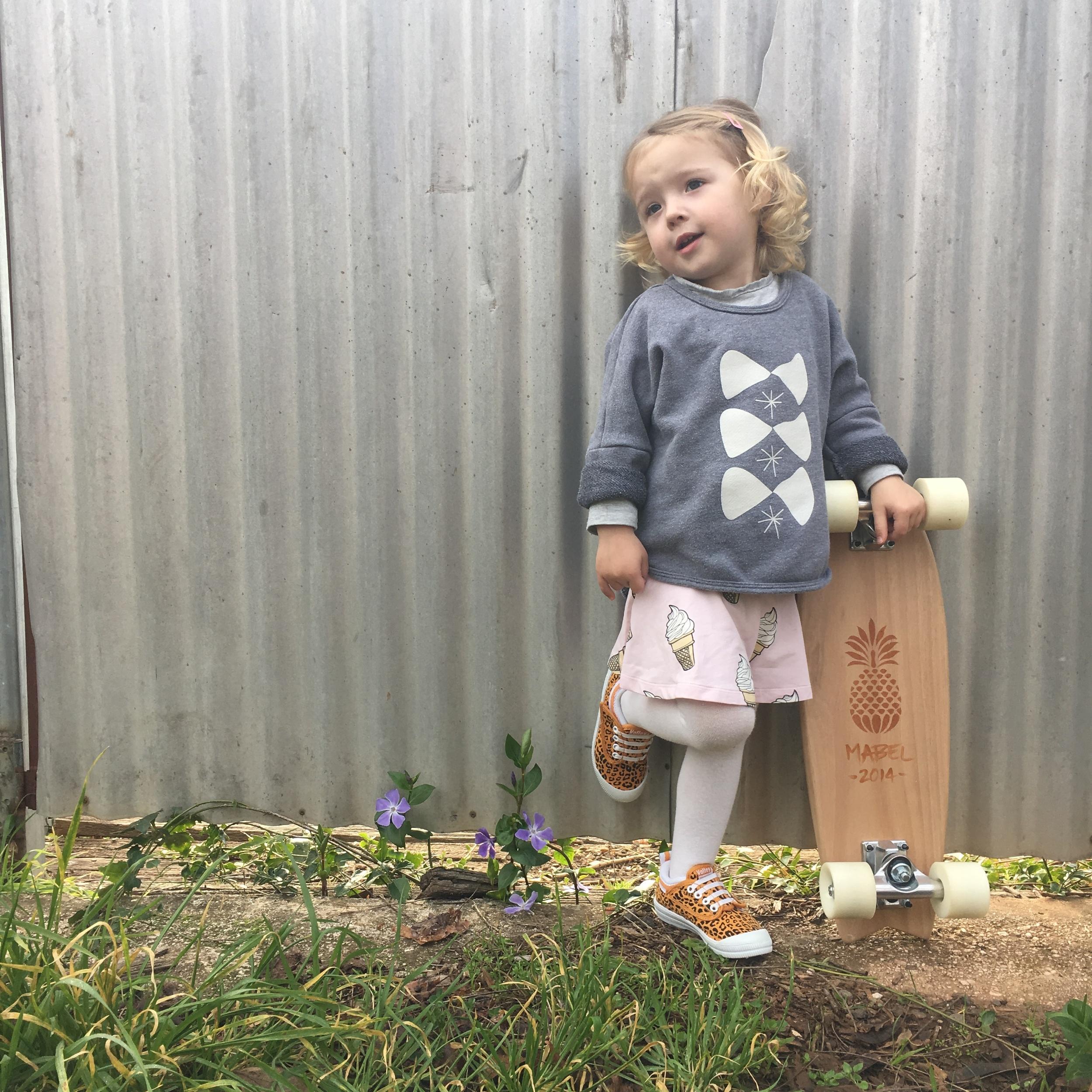 Custom Skate from The Zoo Keeper. Ice Cream Skater Skirt from Alfie Apparel.