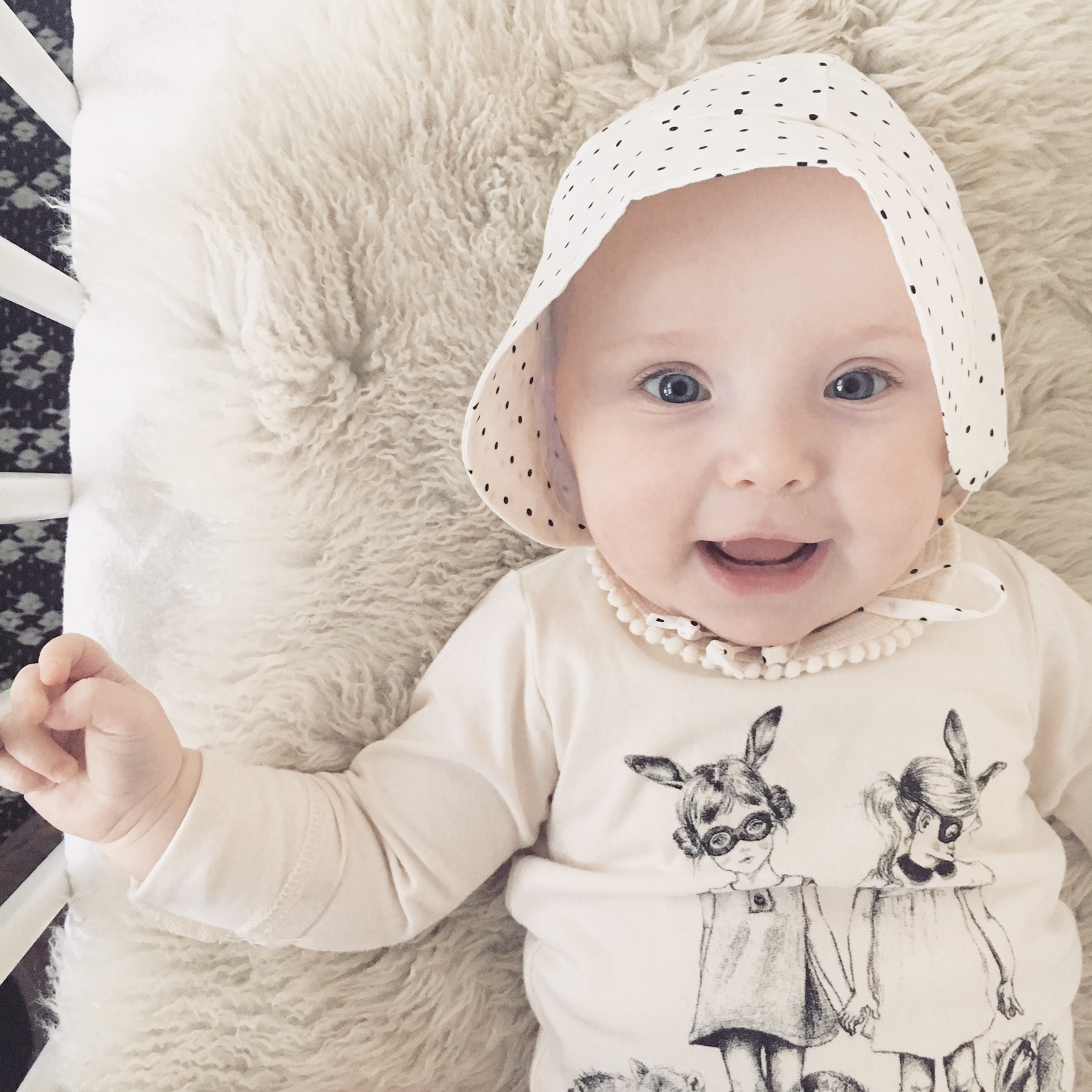 Antique Spot Bonnet by Little Teddy. Tee by Rock Your Baby.