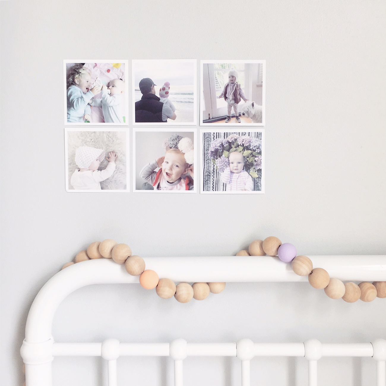Photo Prints by Pocket Prints App. Wooden Clay Bead Garland by Projekt Frankie.