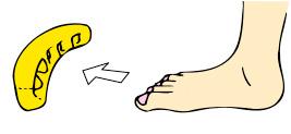 How to wear Genki-kun toe stretcher