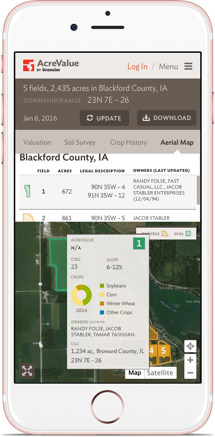 AcreValue: Mobile: Aerial Map