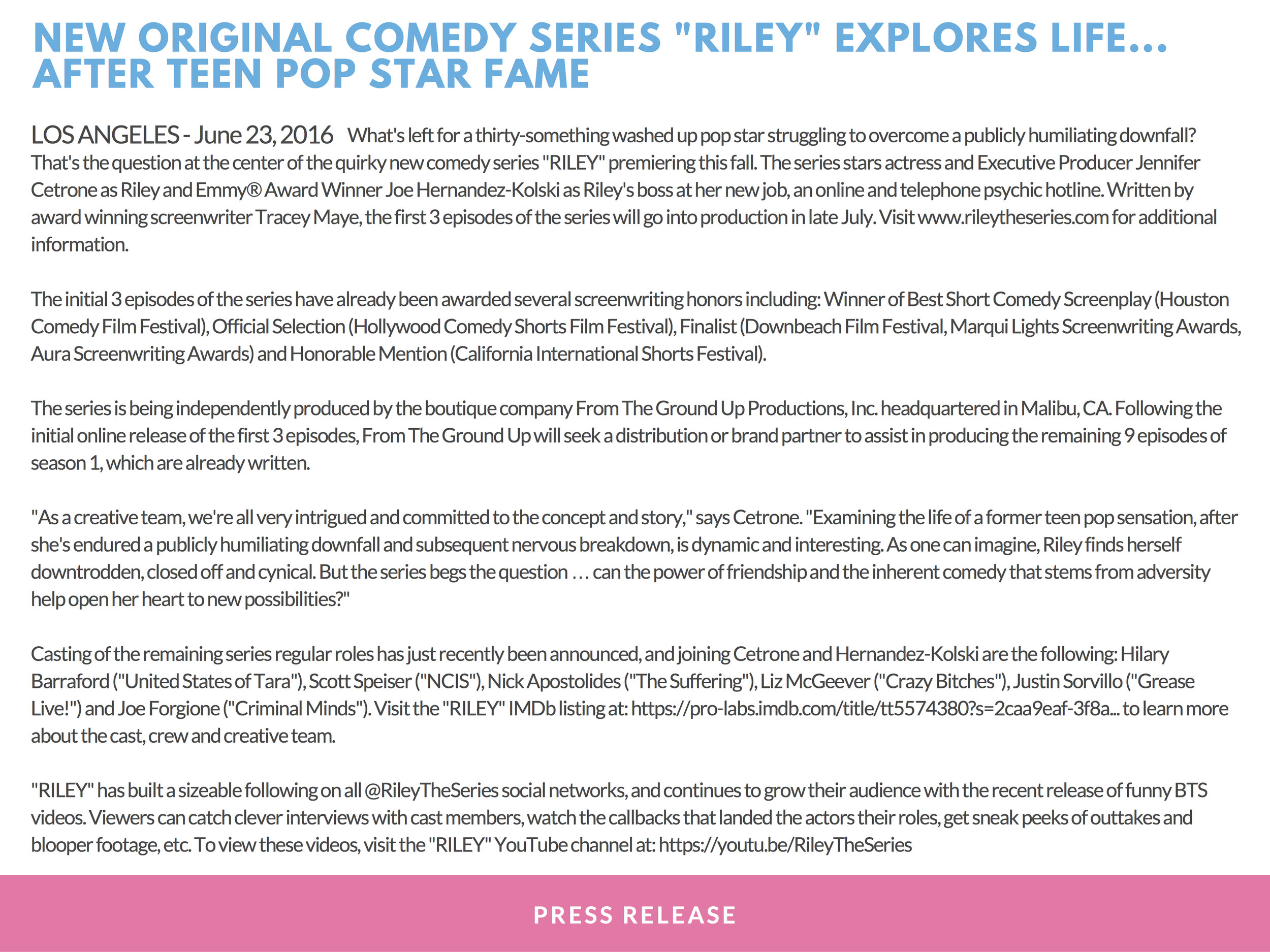 RILEY PRESS KIT - PAGE 14   (   press release #1   )   - CLICK FOR HIGH RES JPEG