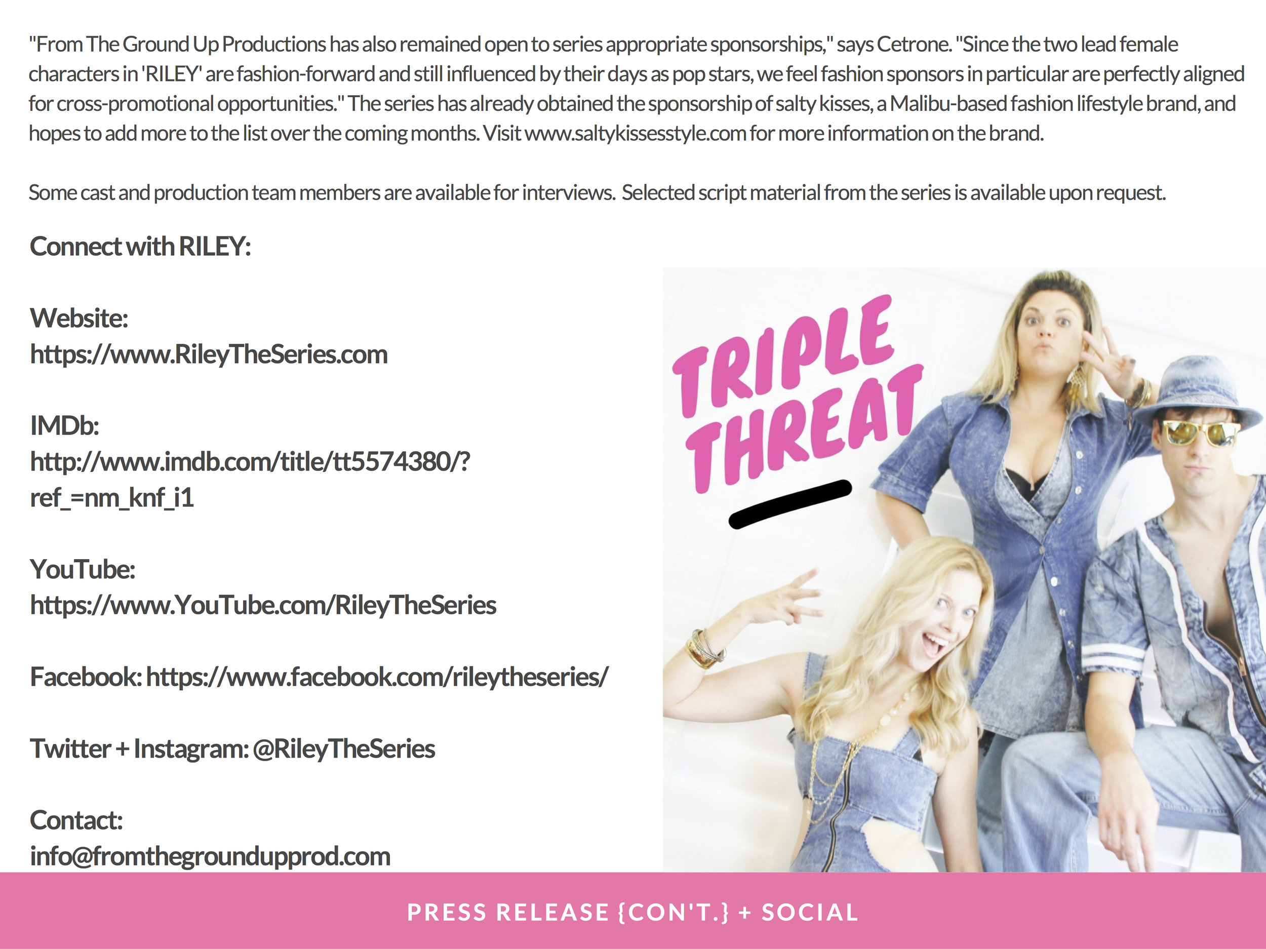 RILEY PRESS KIT - PAGE 15   (   PRESS RELEASE #1 con't.   )   - CLICK FOR HIGH RES JPEG