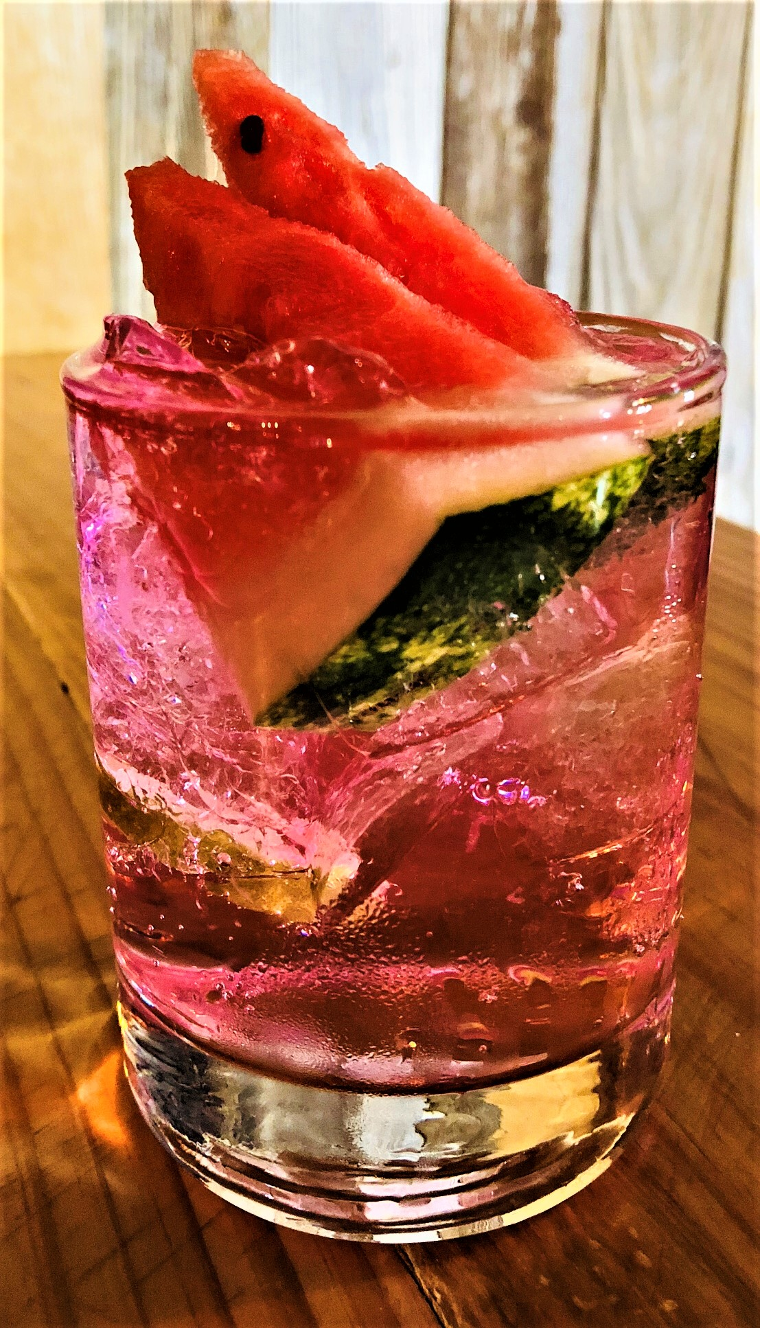 SANDIA SPRITZER  2 ounces of Wild Rag Vodka -Watermelon infused  2.5 ounces of Sprite 1/2 ounce of lime. 1 small watermelon wedge  (Pre-prep: soak watermelon wedge in Wild Rag Vodka - watermelon infused - for 20 minutes)  Pour ingredients in a glass filled with ice. Garnish with watermelon wedge
