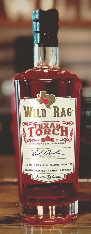 Wild Rag® Texas TorchCinnamon Flavored Vodka - The Distiller created Wild Rag Texas Torch Cinnamon Flavored Vodka with savory notes of hot chili pepper & cinnamon. The Distiller has carefully crafted this blend with a perfect balance of heat and sweet resulting in a pleasingly smooth-tasting cinnamon flavored Vodka like no other. People are raving over this Vodka. Prod. September 2016.750ml | 35% Alc by Vol | 70 Proof50ml | 35% Alc by Vol | 70 ProofDistilled from Cane SugarGluten Free